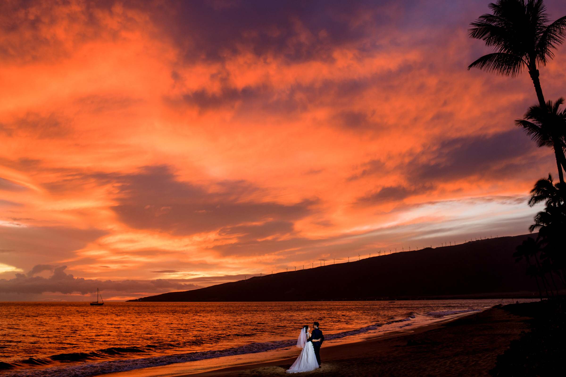 Maui Sunset portrait of bride and groom by Angela Nelson