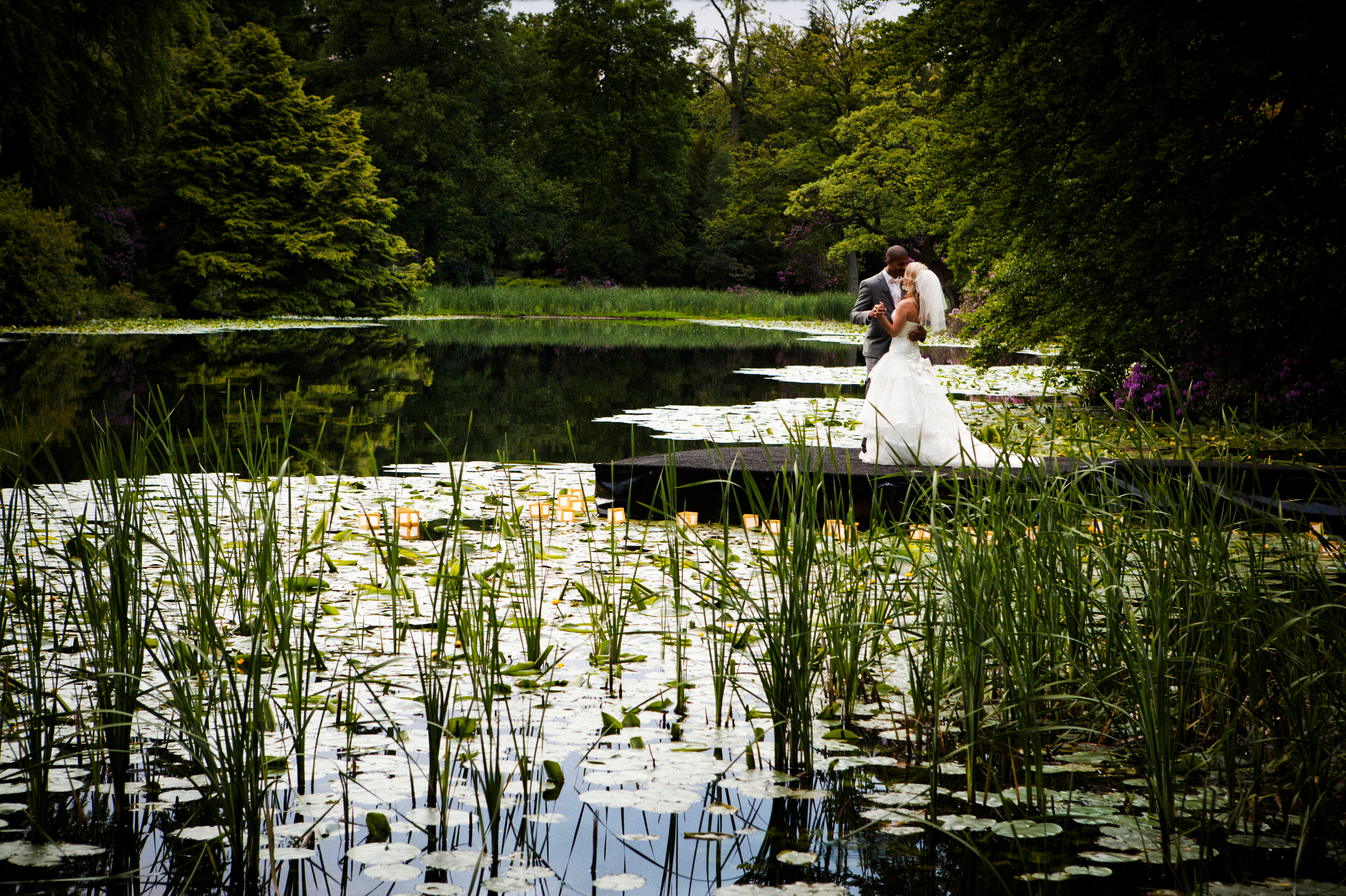 Swinton Park Hotel - Portrait of bride and groom at Home Lake - photo by Jeff Ascough