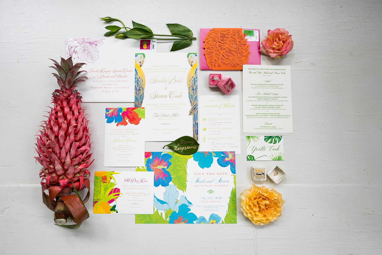 Tropical invitation suite with colorful flowers photographed by Callaway Gable - Los Angeles