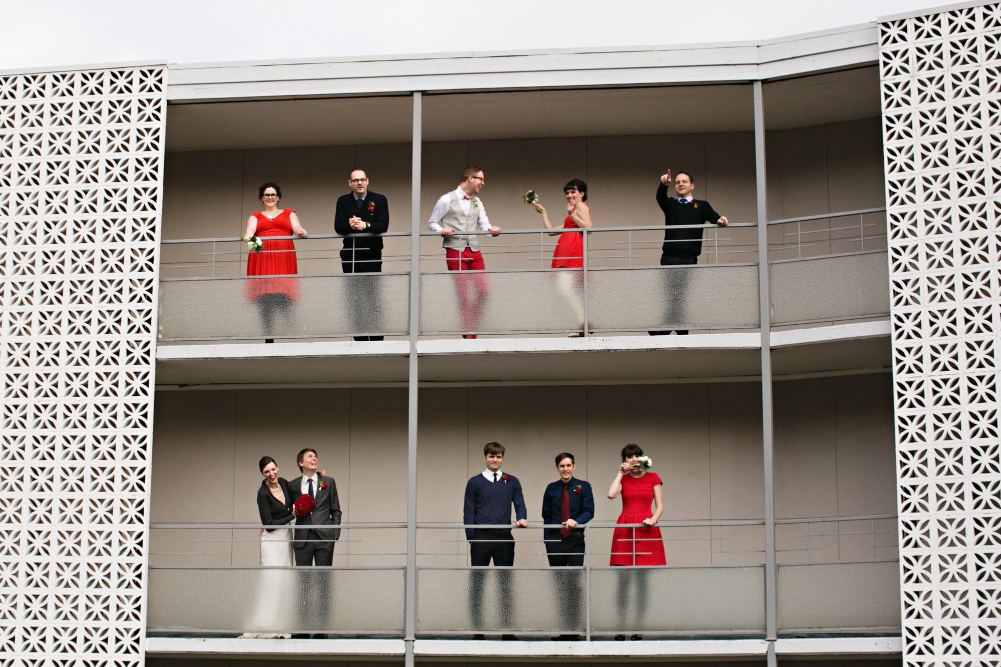 Group portrait on hotel balcony - photo by Jenny Jimenez