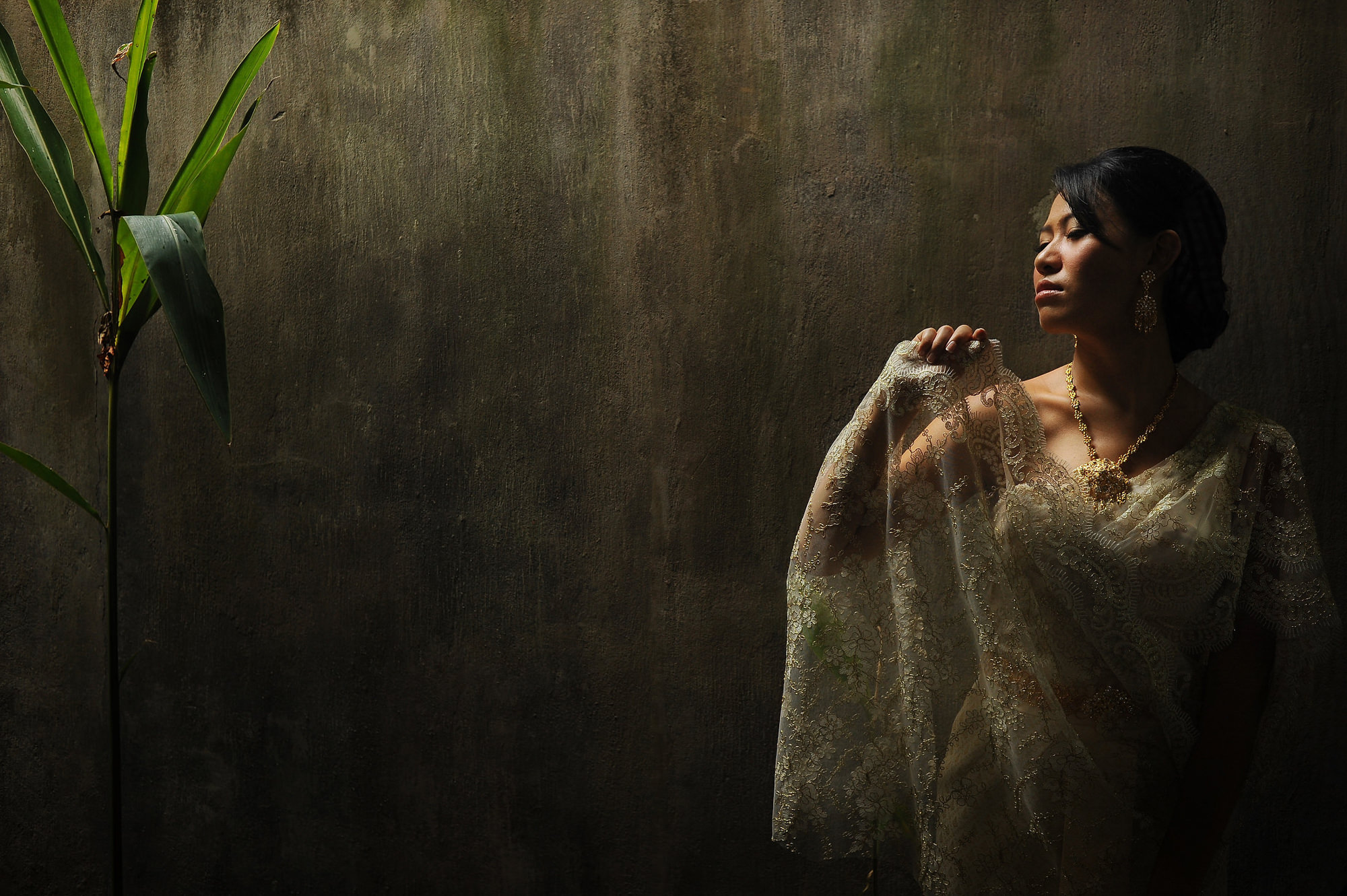 Asian bride portrait in lace gown soft lighting - photo by Daniel Aguilar