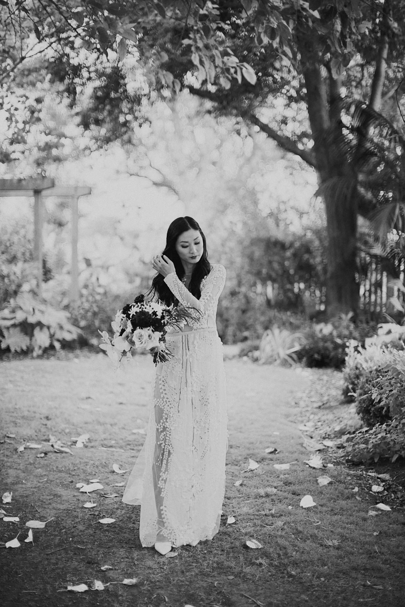 Bride in applique gown - photo by Dan O'Day