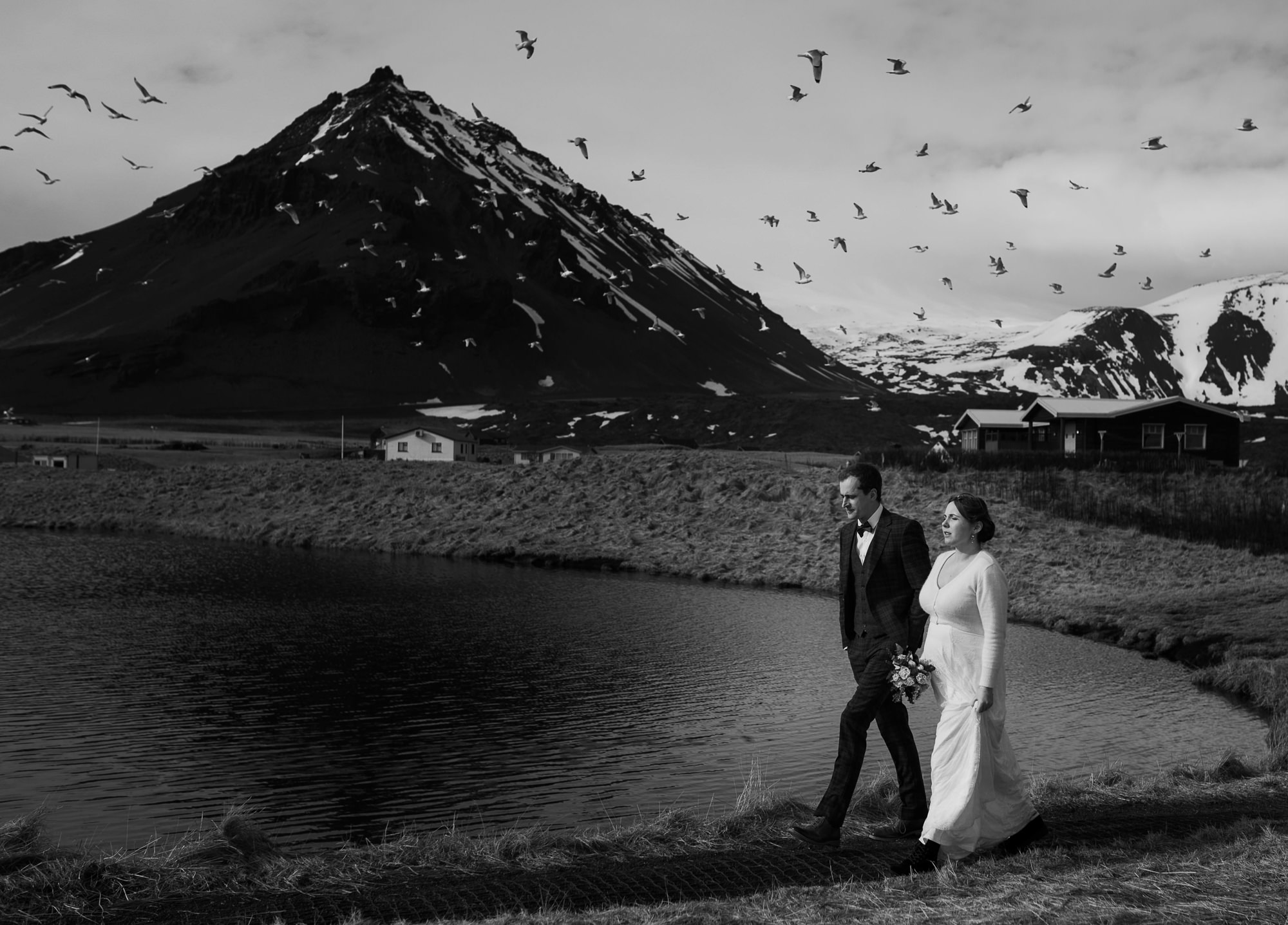 Couple portrait against mountains photo by Nordica Photography