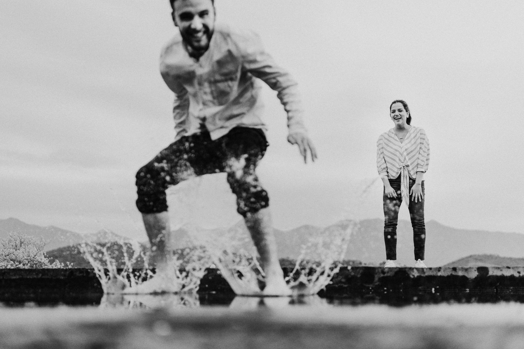 Fun black and white engagement photo by Fer Juaristi