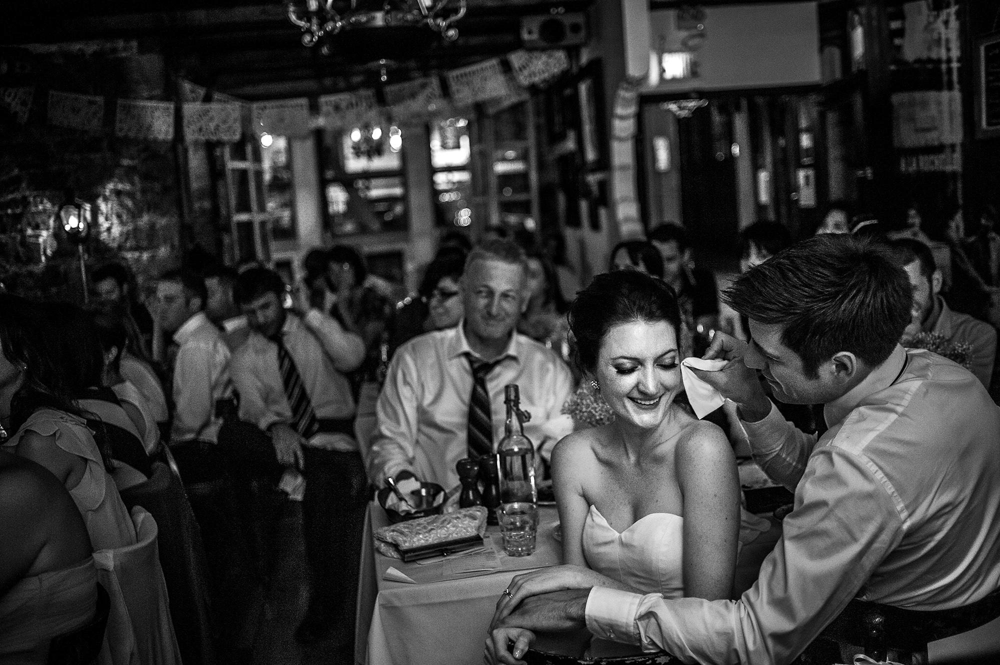 Groom wipes bride's tears at reception - Davina + Daniel