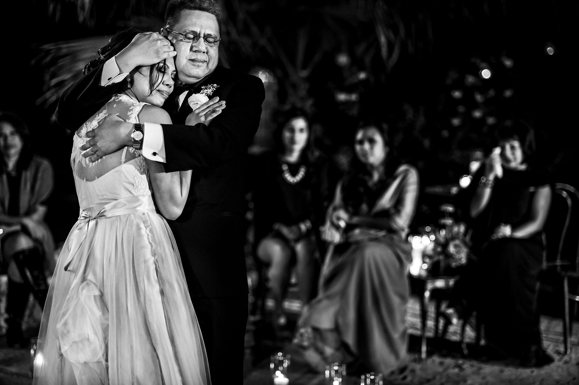 Dad hugging bride during formal dance - Davina + Daniel
