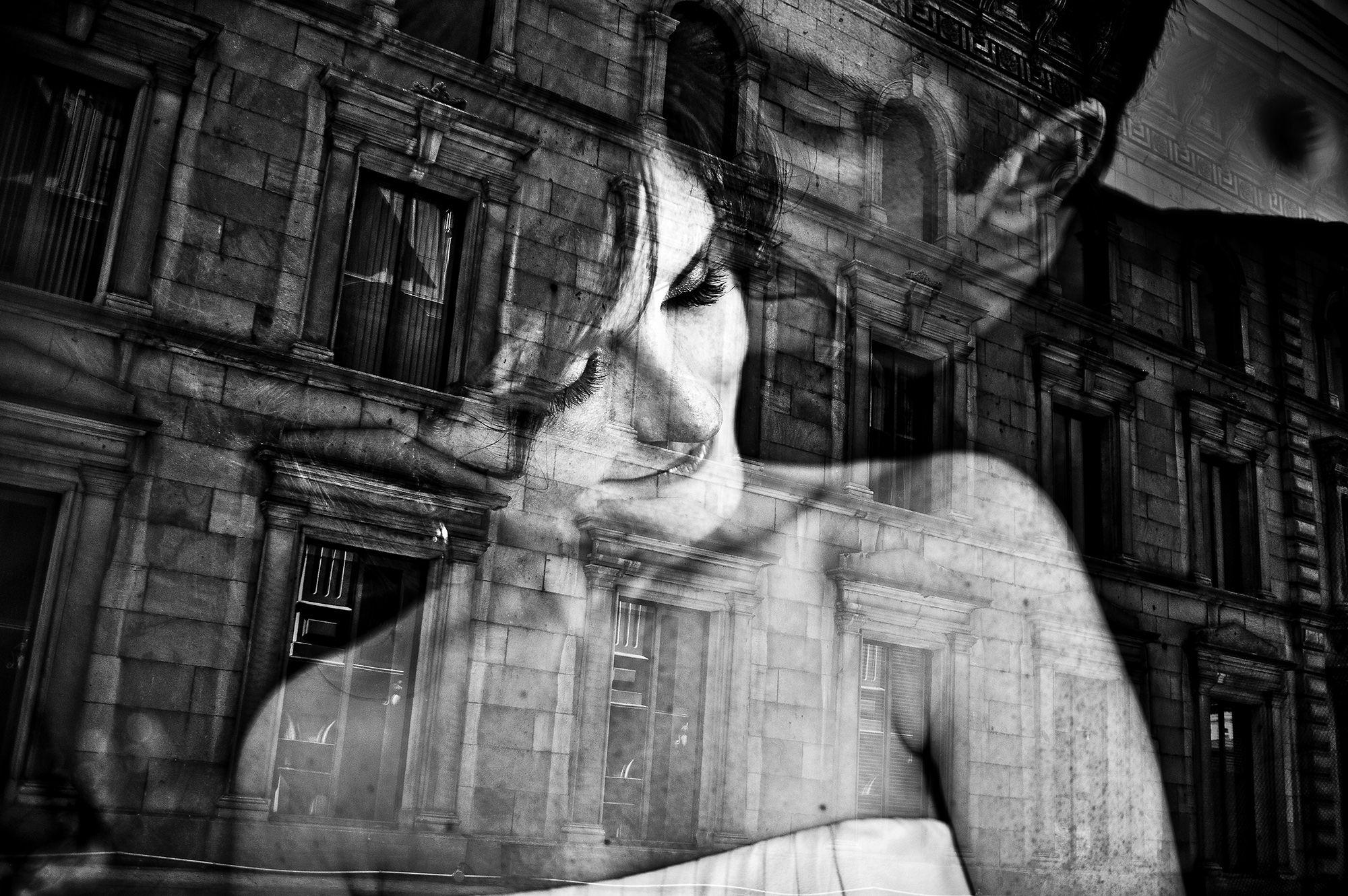 Bride and groom reflected - Davina + Daniel