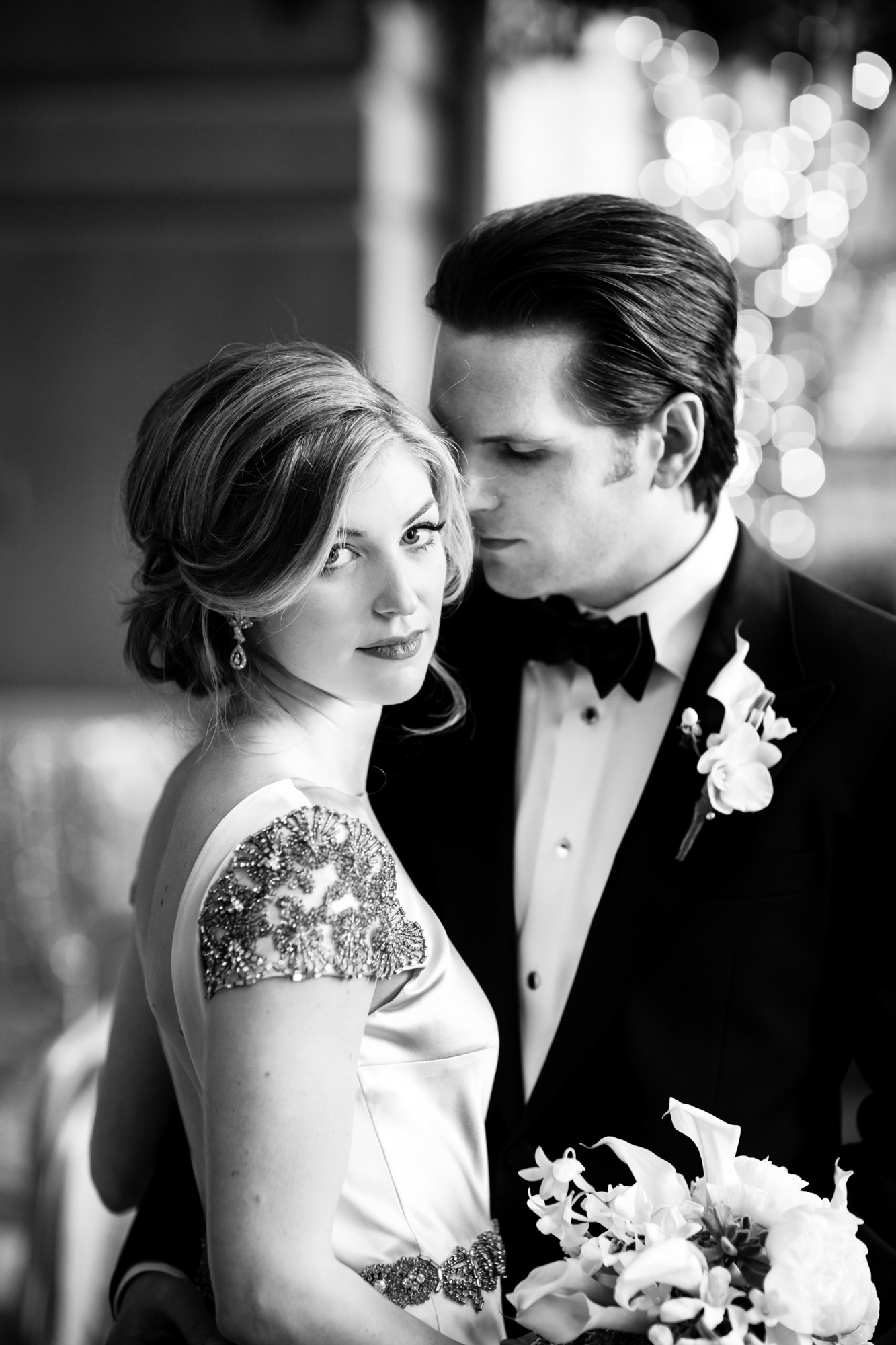 Elegant portrait of couple at reception  - La Vie Photography