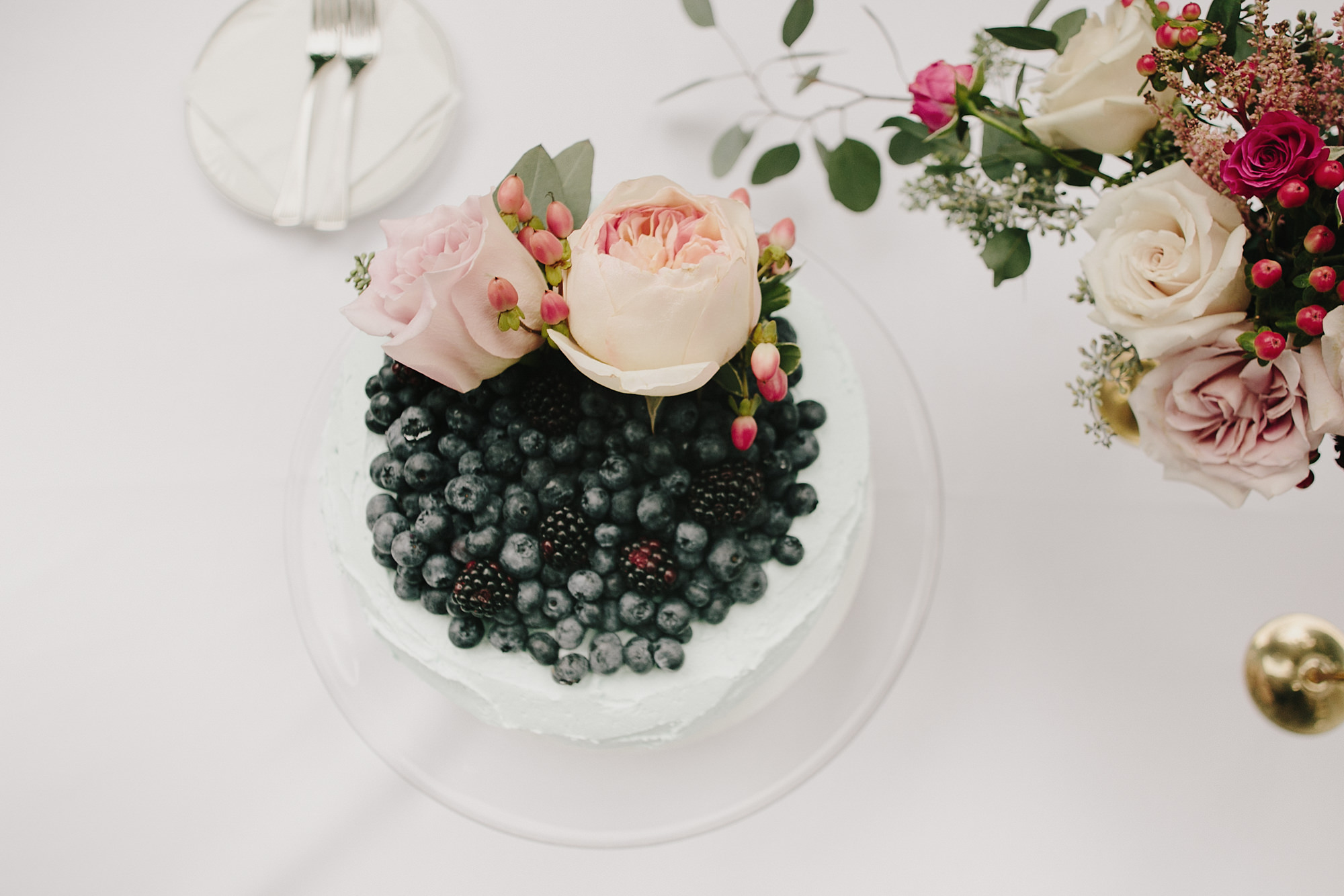 Blueberry bowls with pink roses - photo by James Moes