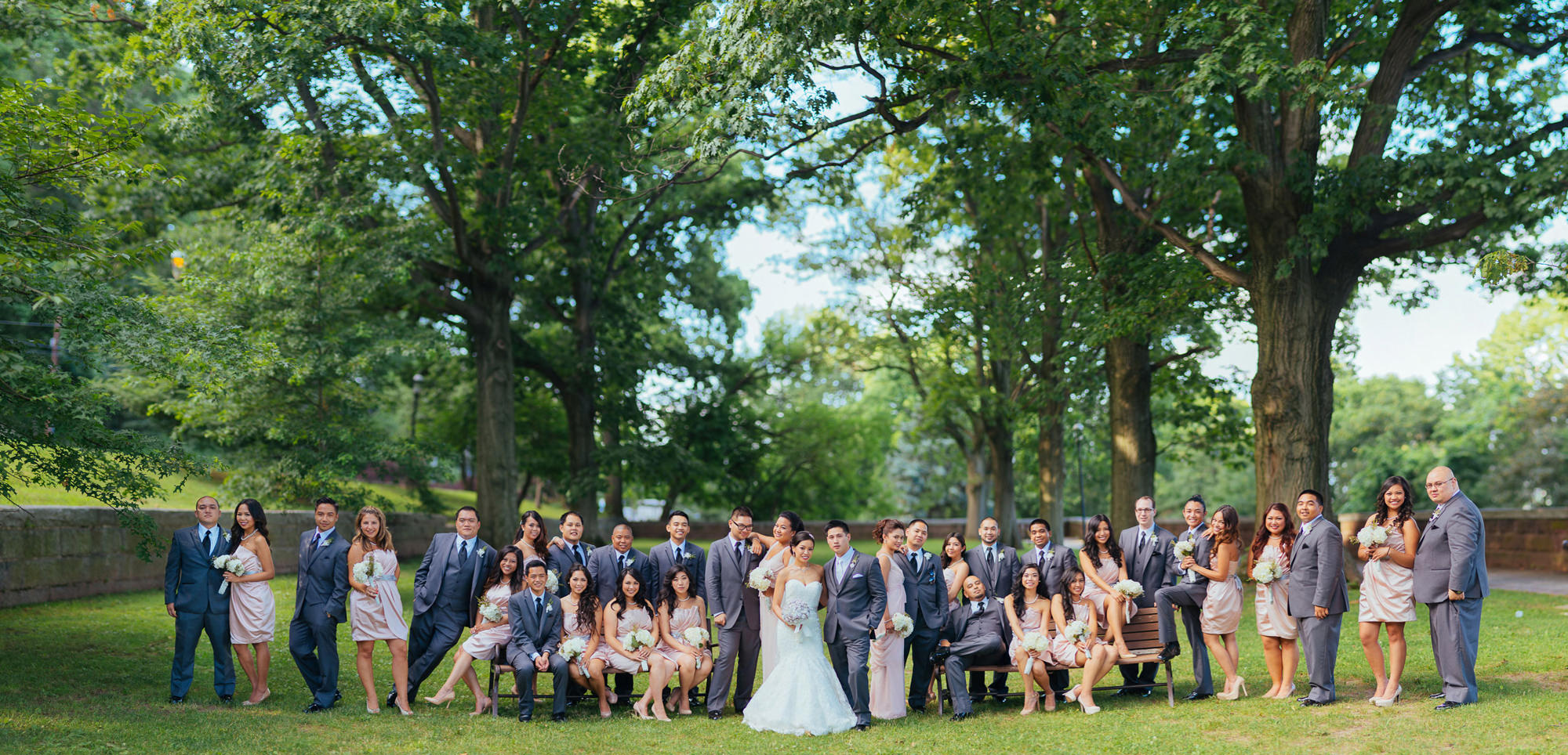Epic huge wedding party group portrait using the Brenizer Method, by the Brenizers