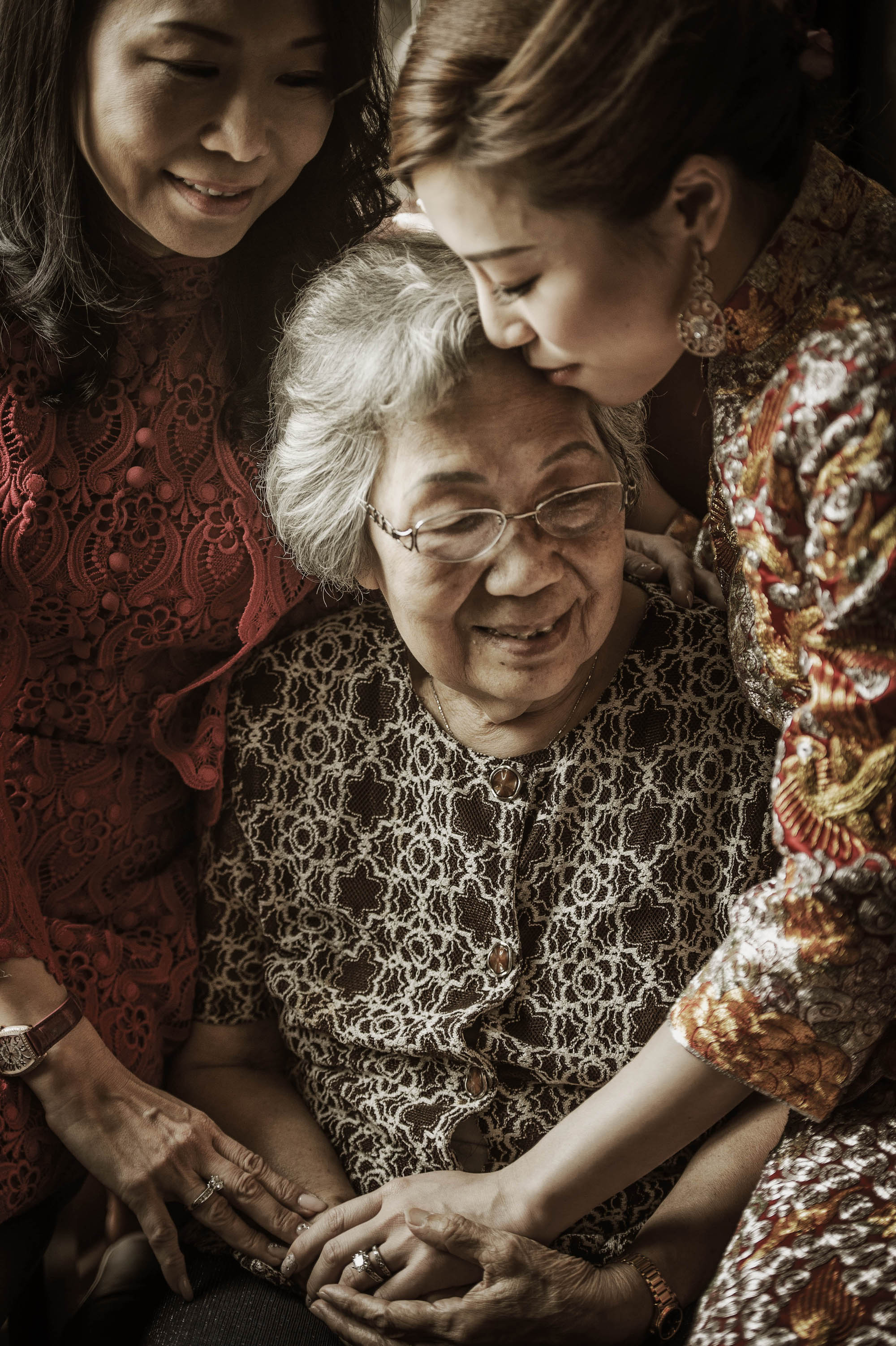 Three generations of women, bride, mom and grandmother, by CM Leung