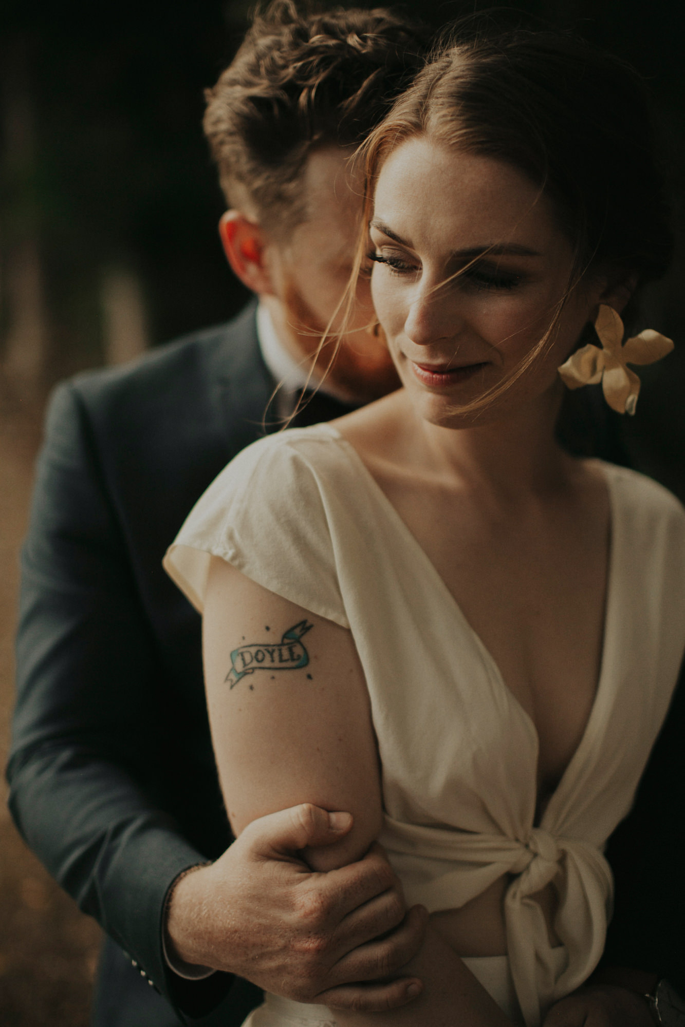 Couple portrait, bride with tattoo- photo by Dan O'Day