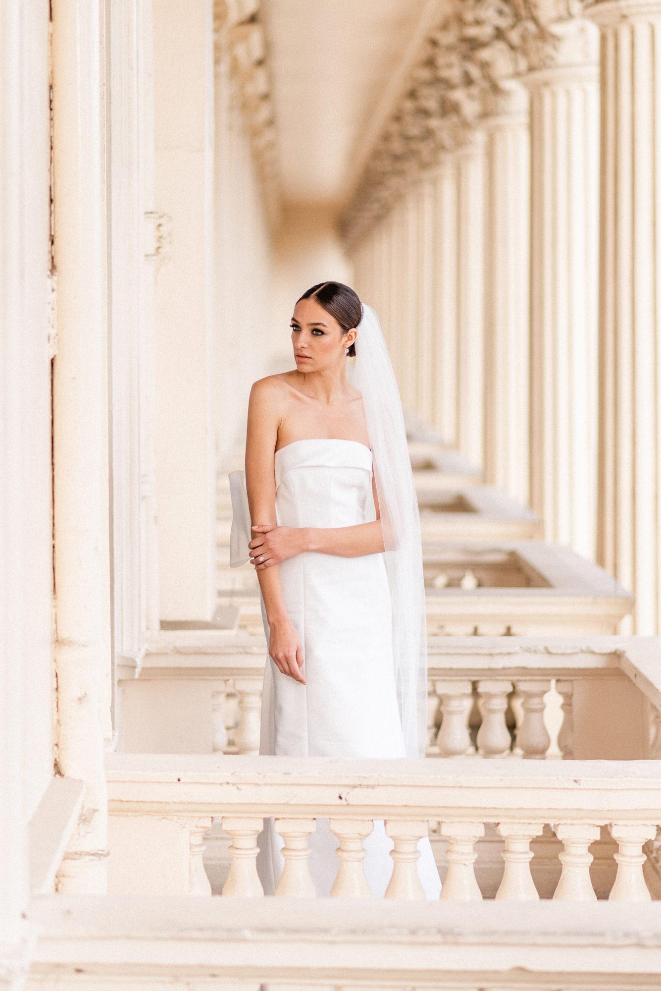 Bride in minimalist silk column gown - Gianluca Adovasio Photography