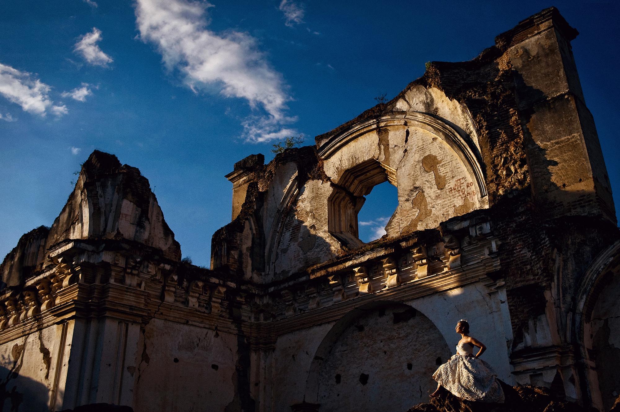 Bride walking through Mayan Ruins  - Davina + Daniel