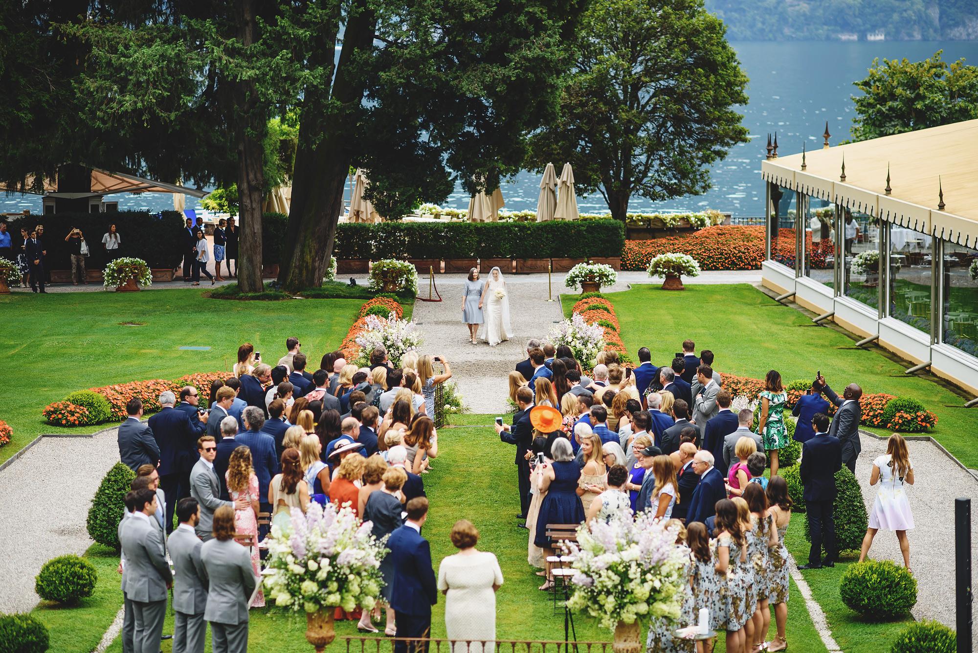 Lake Como garden ceremony photo by Ross Harvey