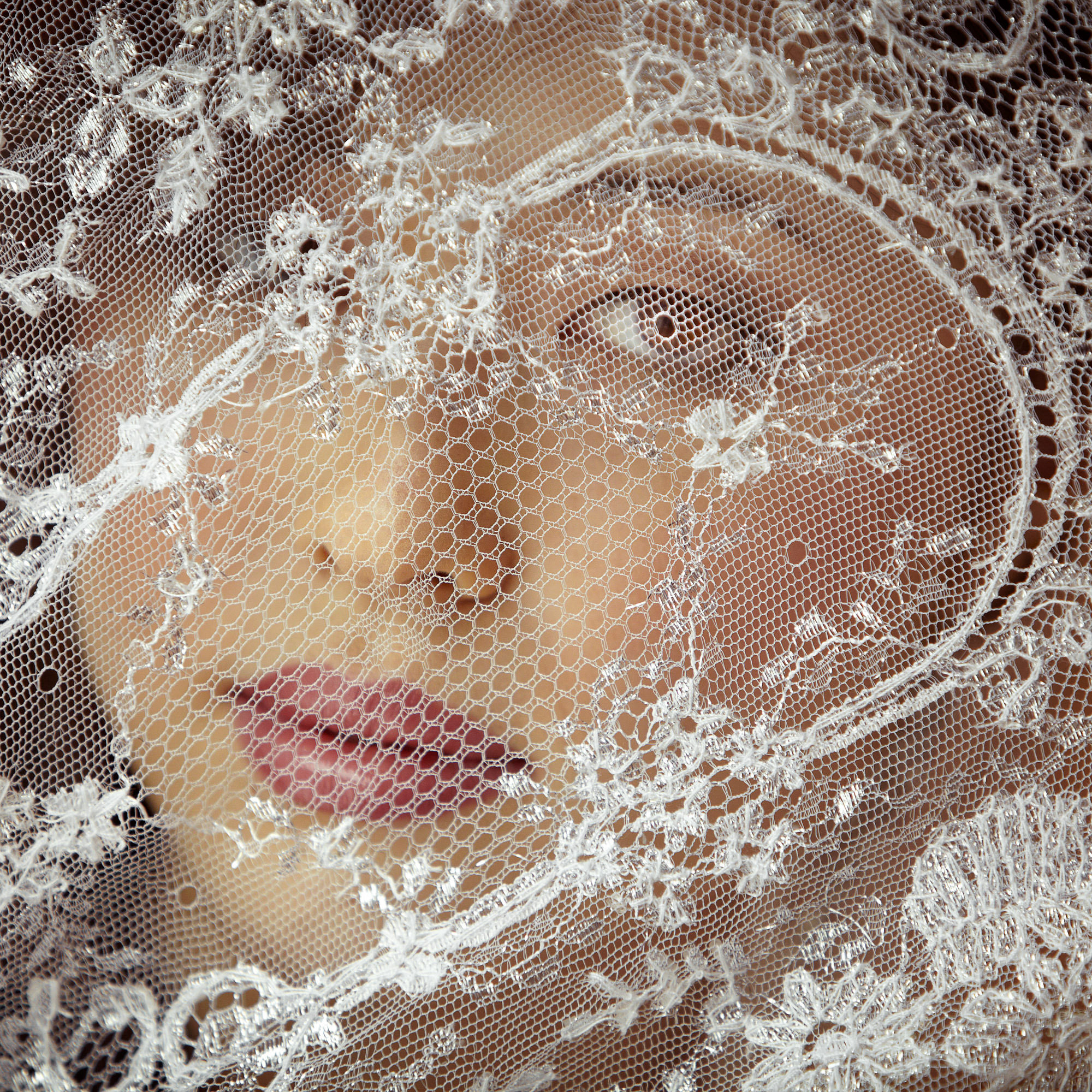 Bride peers through veil - photo by Jerry Ghionis