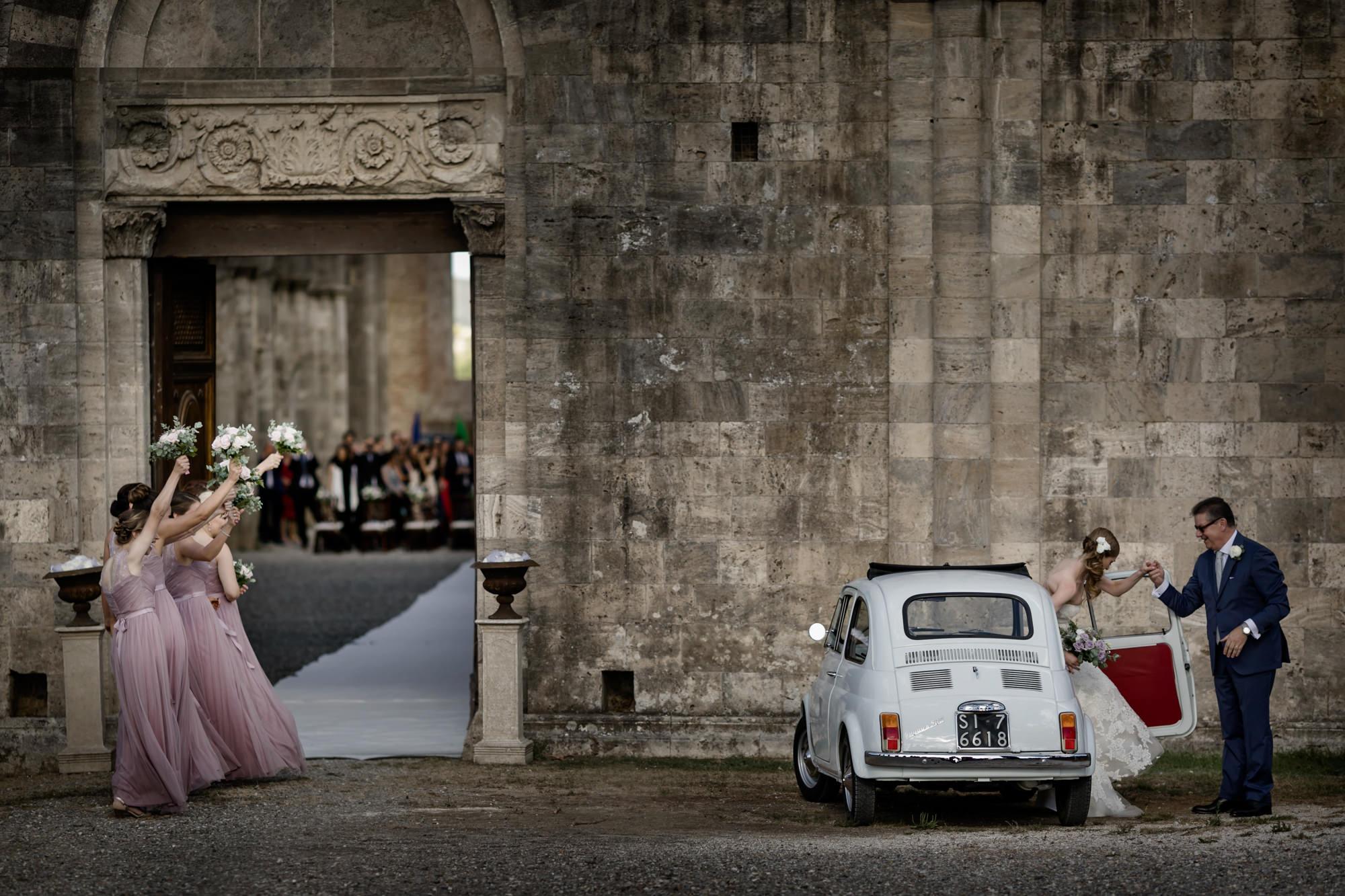 Bride arriving to ceremony photo by David Bastianoni