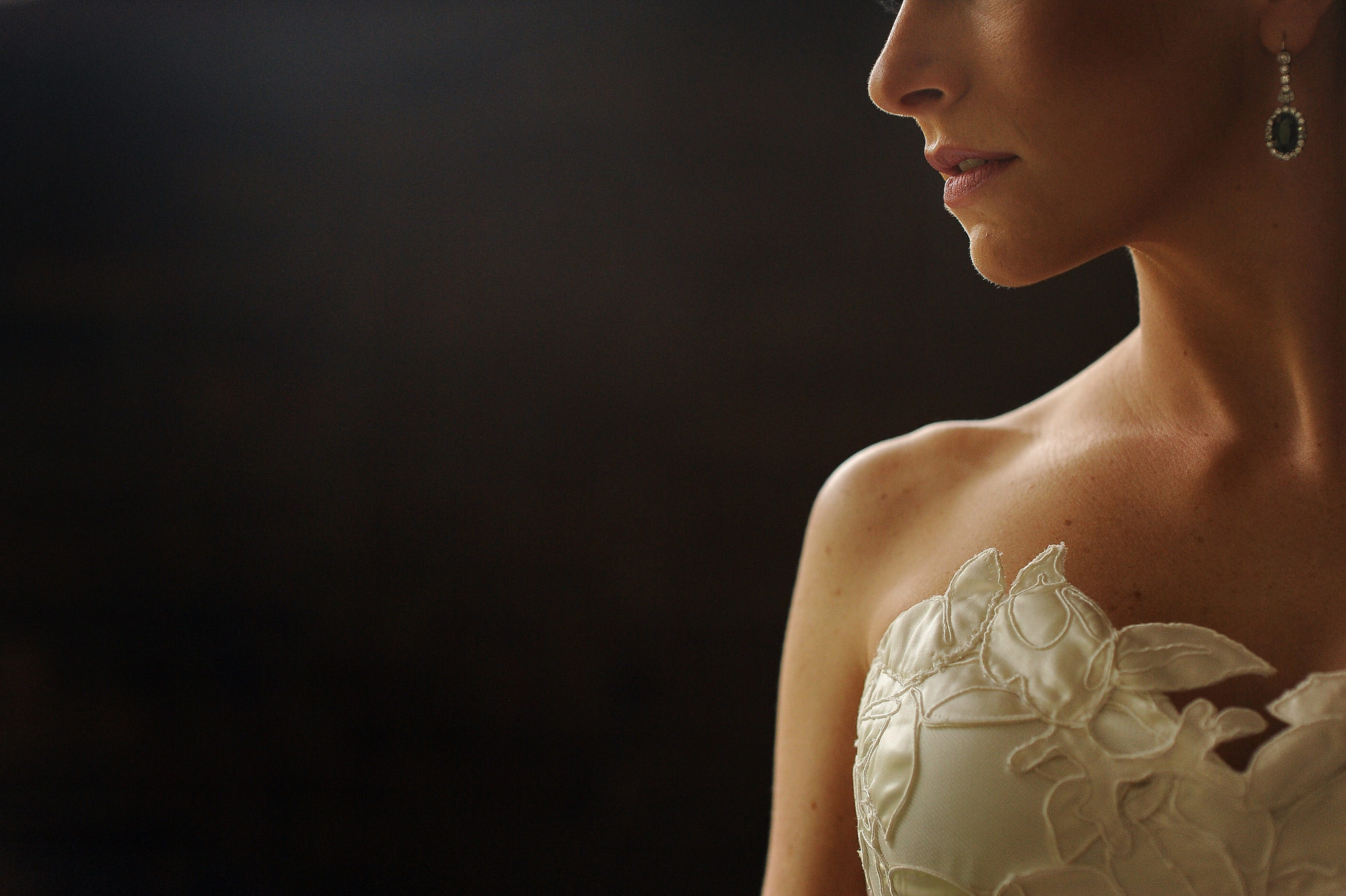 Close up of bride with silk applique bodice - Daniel Aguilar Photographer