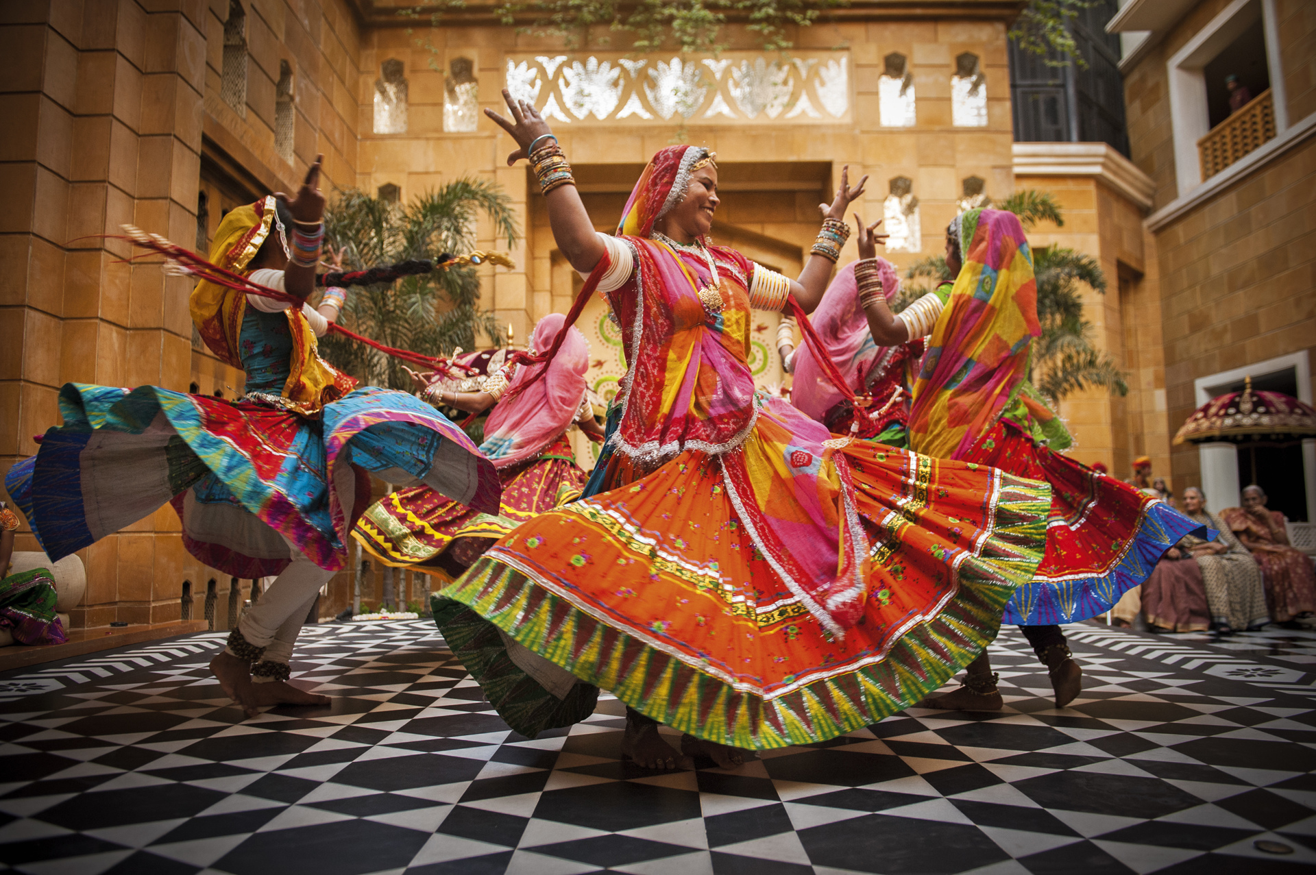 colorful Indian dancers - photo by Sephi Bergerson