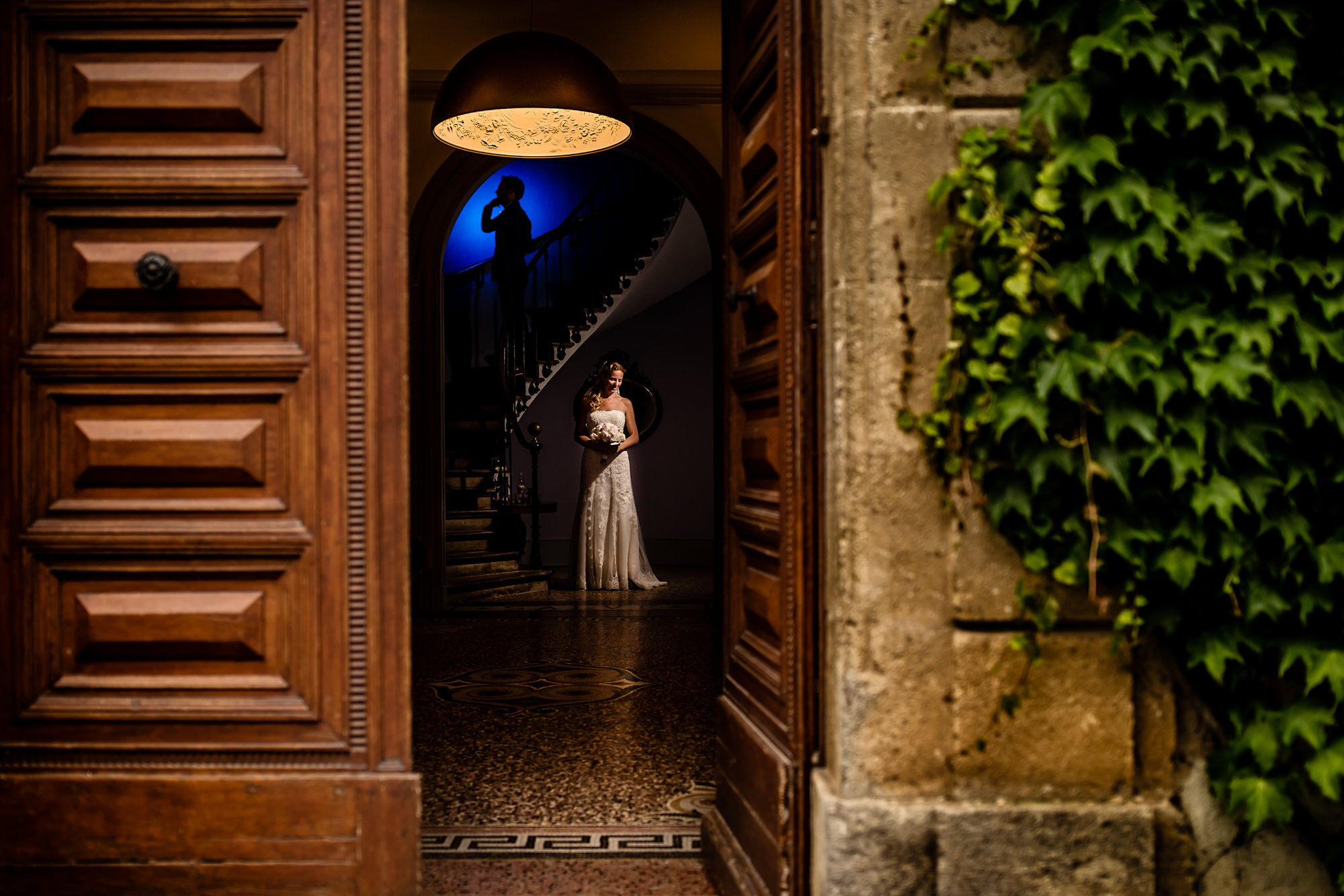 Creative light and shadow bride and groom portrait in villa, by Eppel Fotographie
