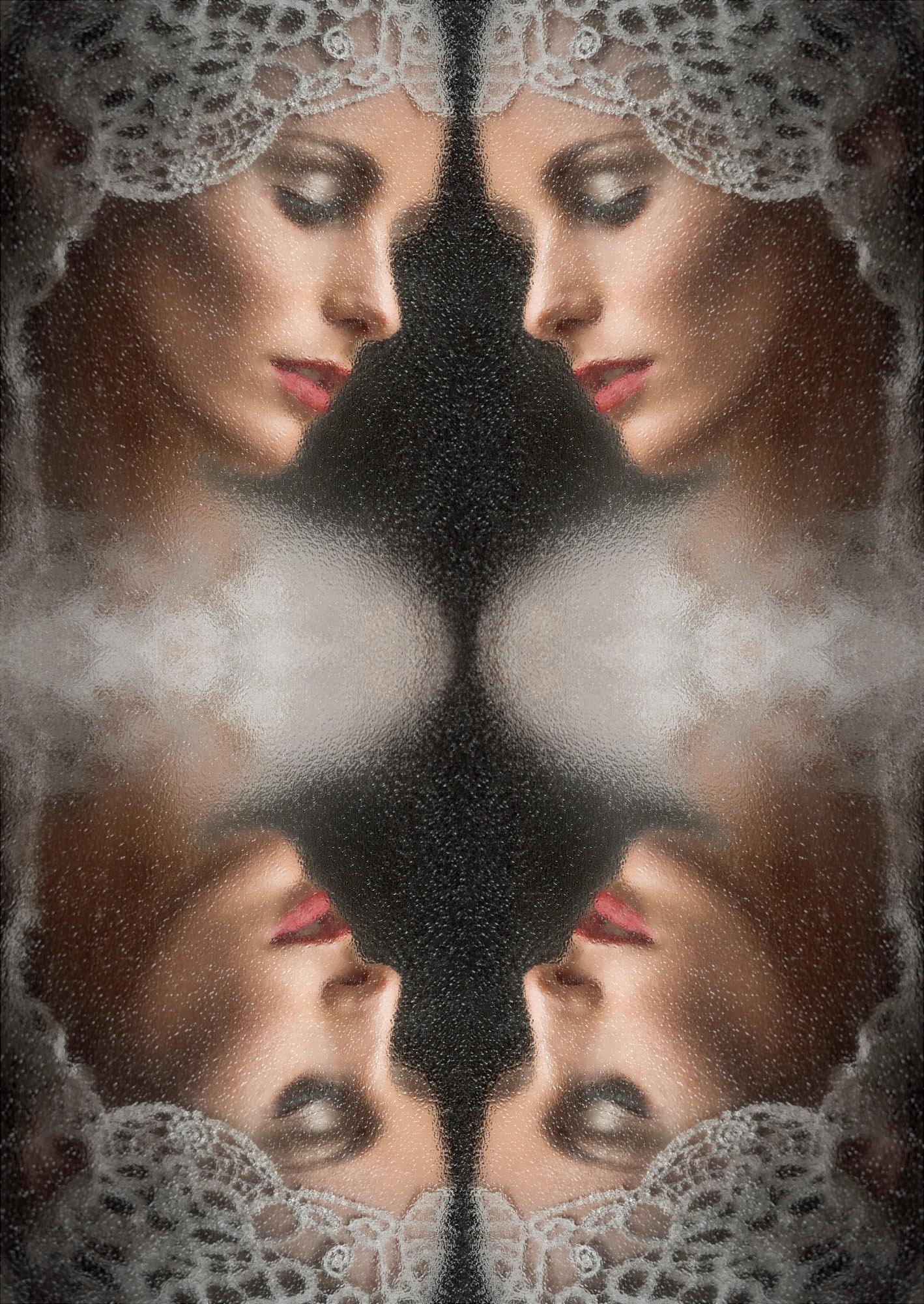 Concept composite bridal portrait with mantilla - photo by Jerry Ghionis