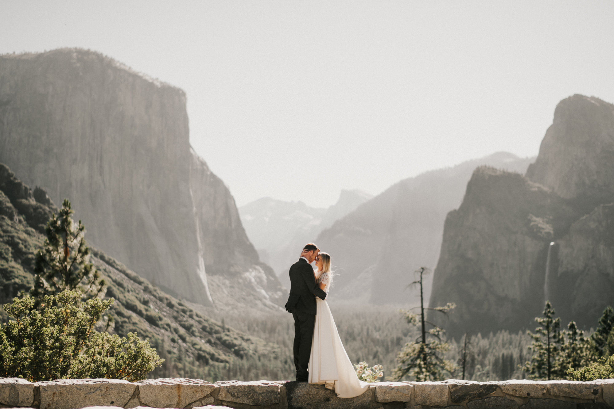 Couple in front of half dome -Nick + Danee