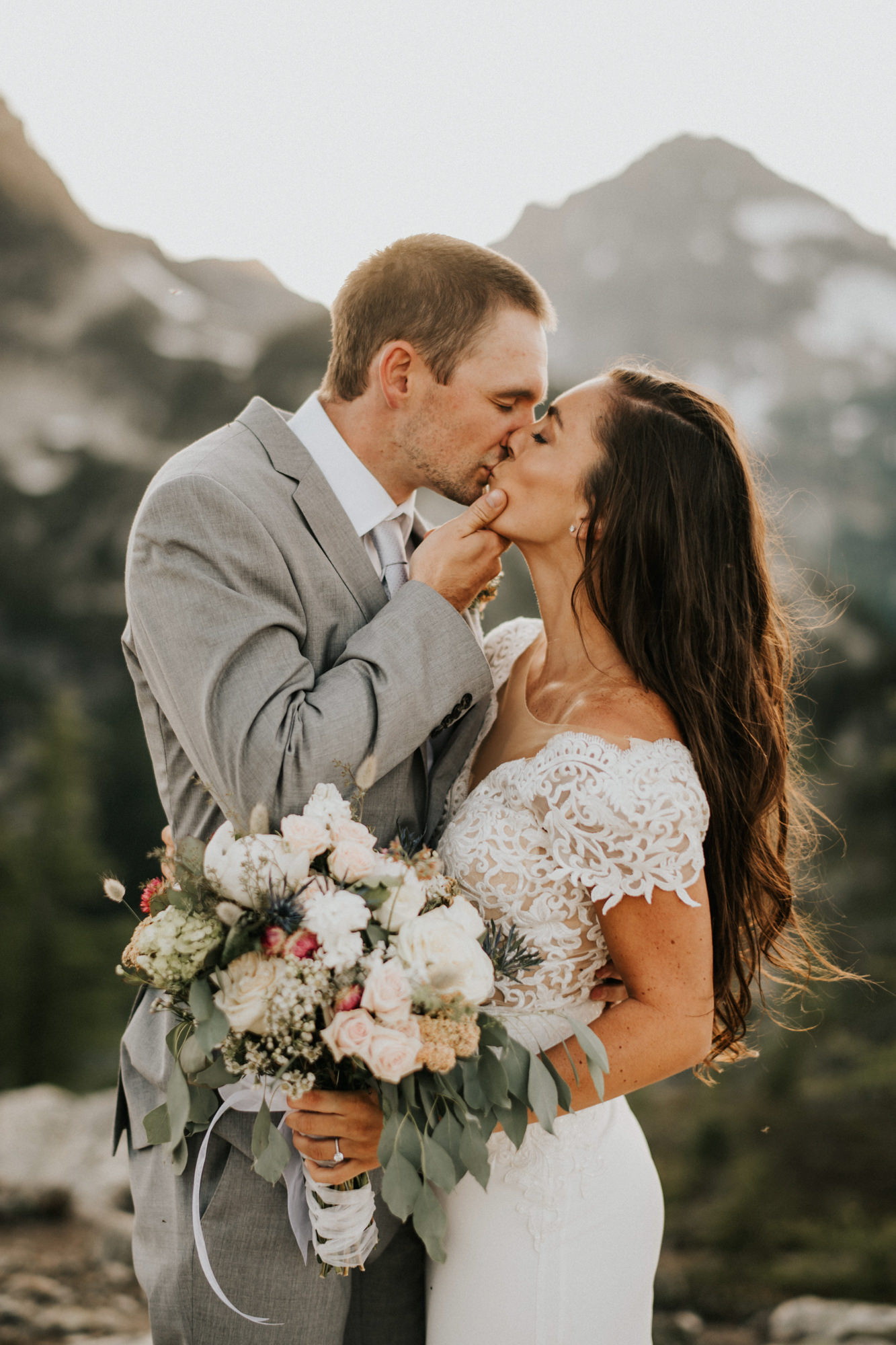 couple kisses during elopement in north cascades - Nick + Danee