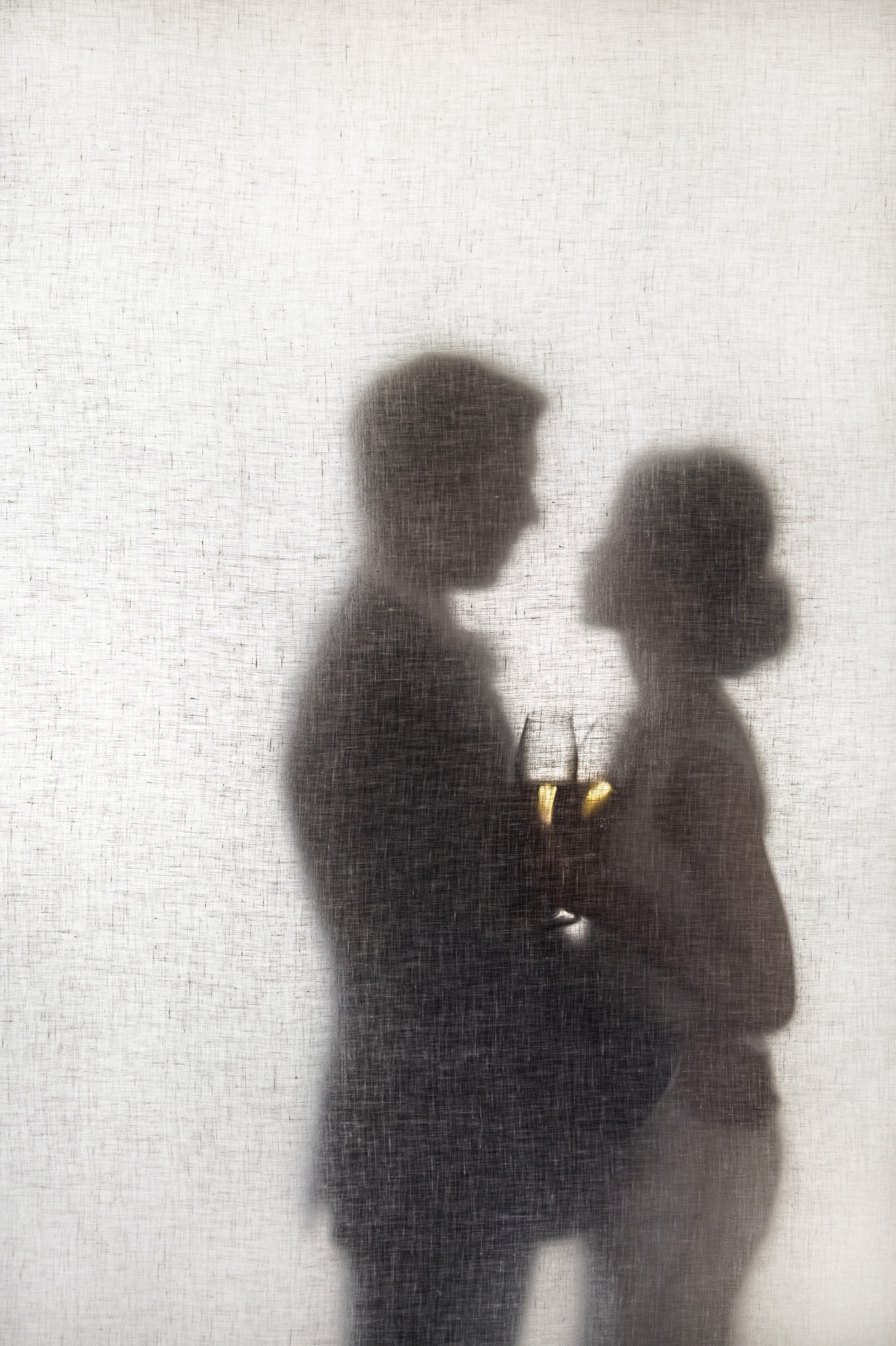 Couple's profiles with champagne  through silk - photo by Jerry Ghionis