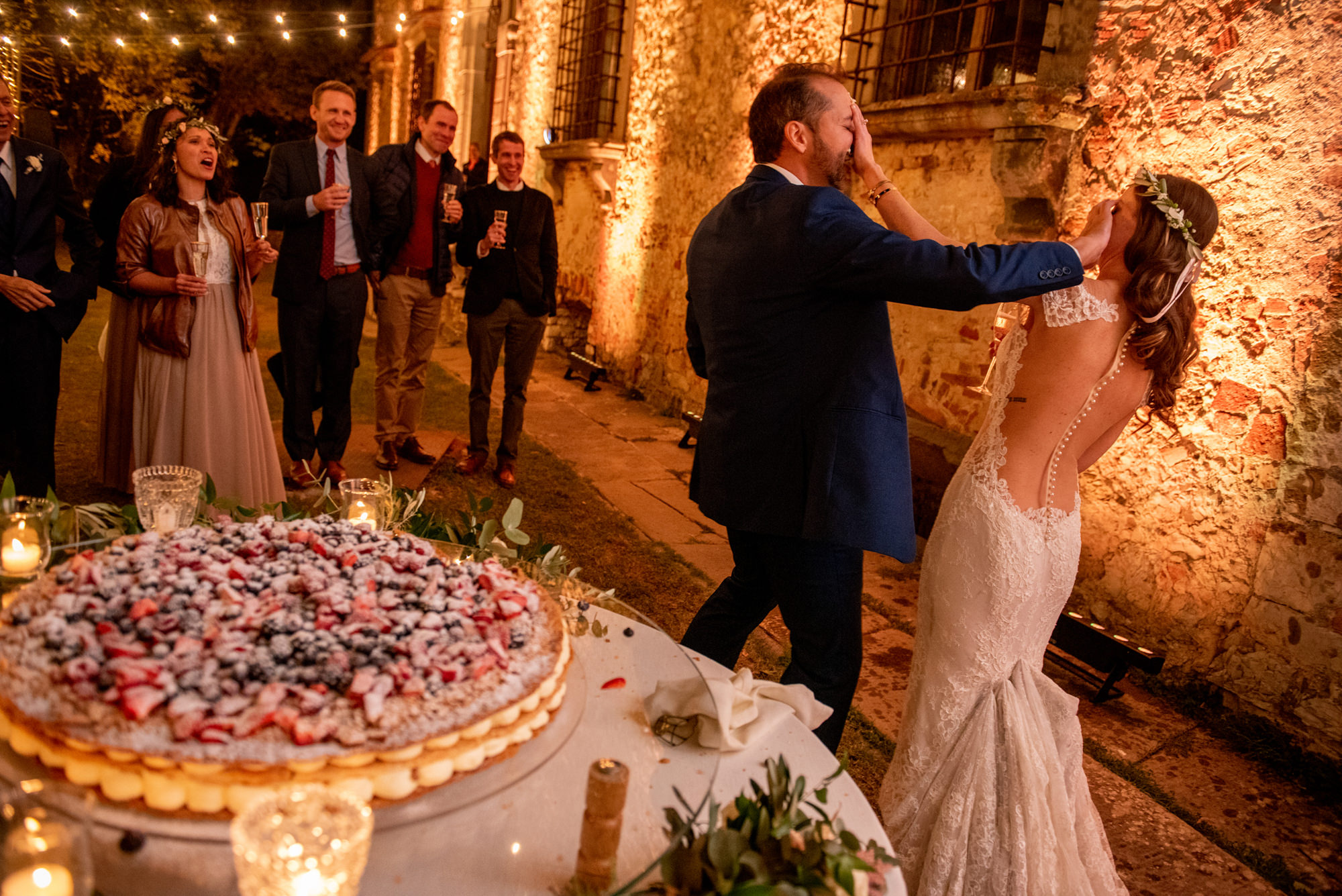 Couple smashes cake in faces - Morgan Lynn Photography