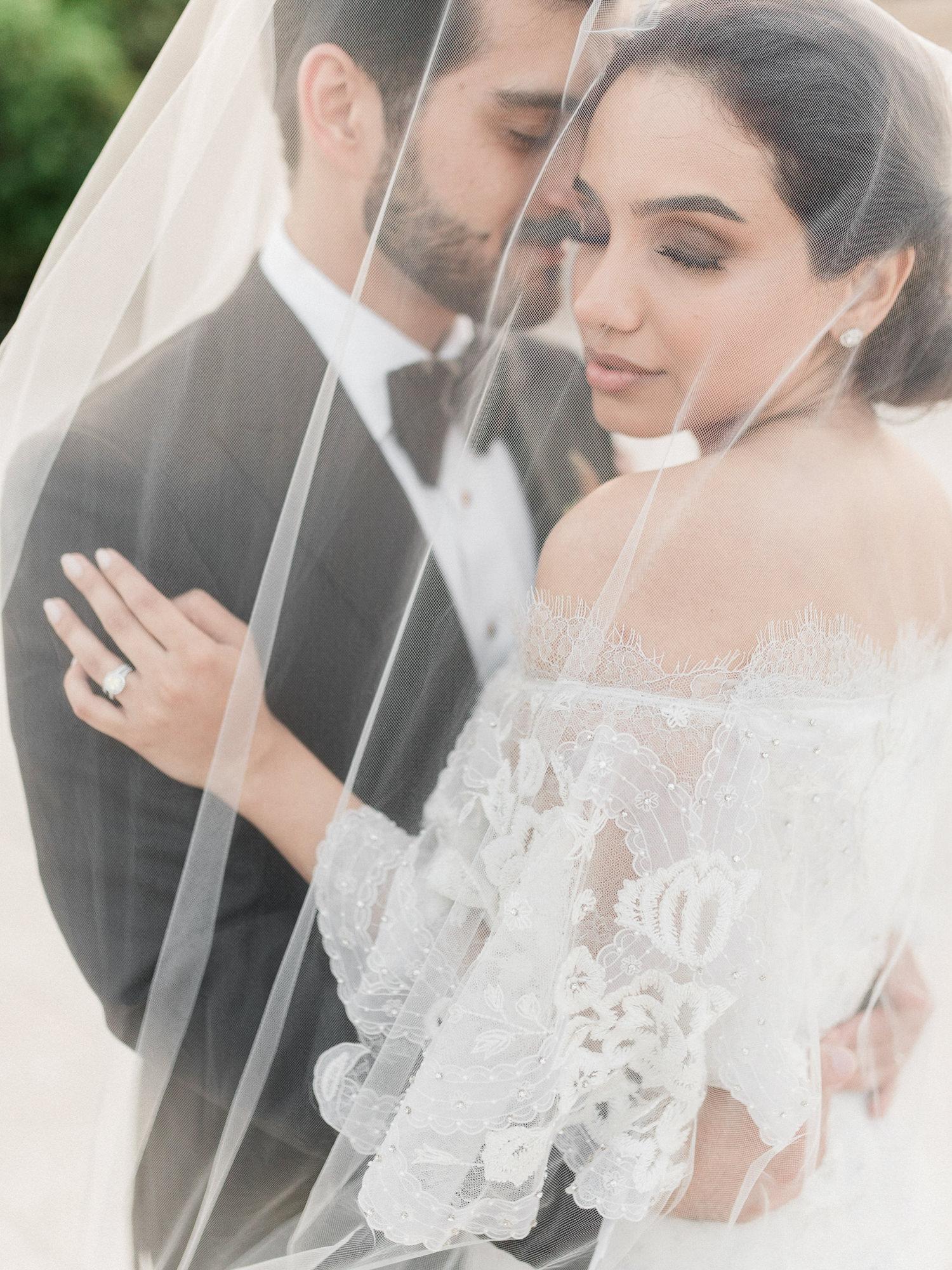 Romantic portrait of couple under veil  -  Gianluca Adovasio Photography
