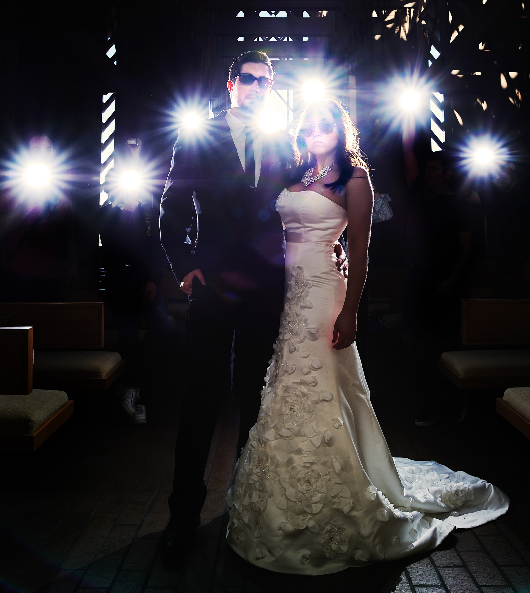 Strobe light portait of bride and groom - photo by The Brenizers - NYC