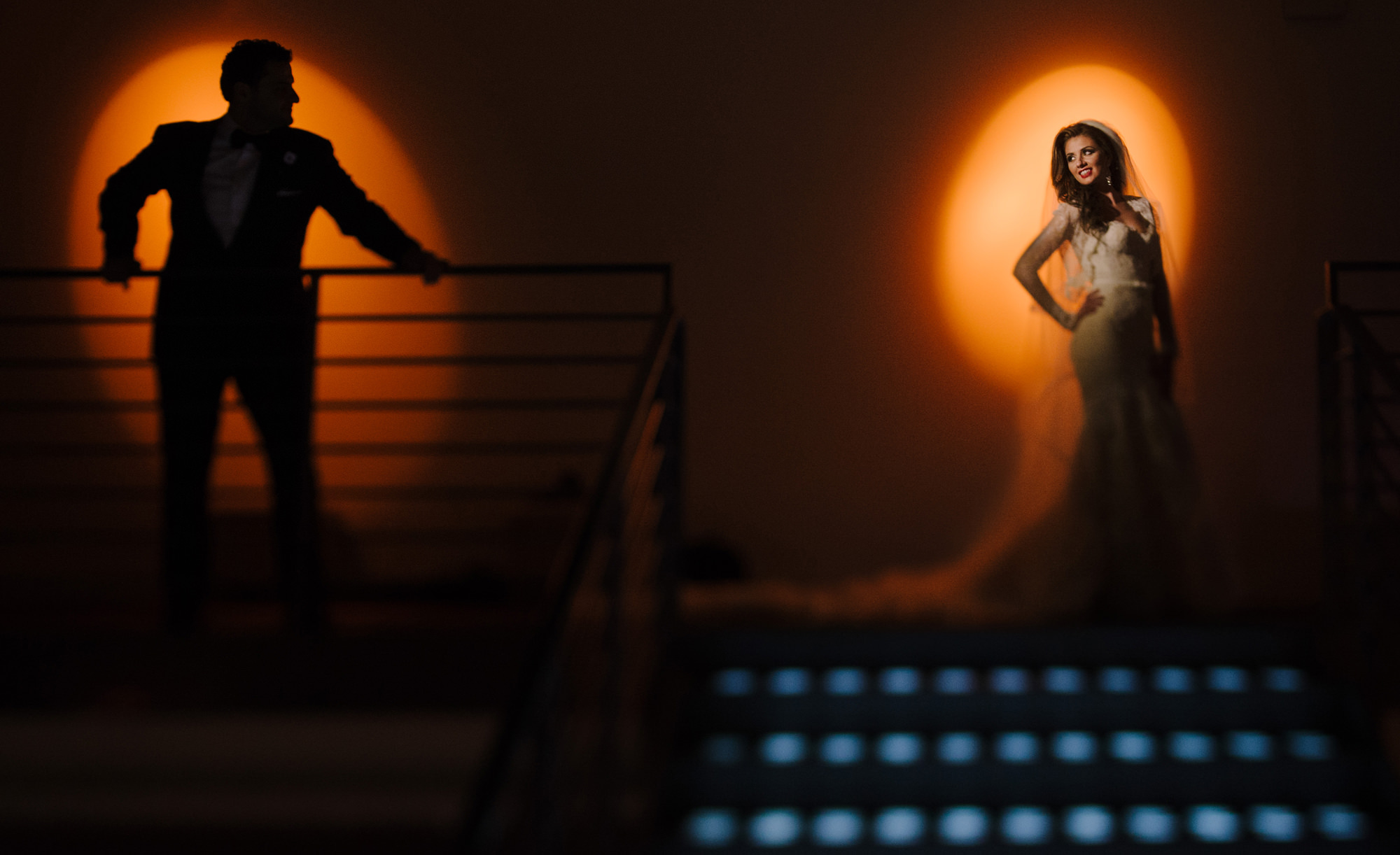 Creative lighting portrait of bride and groom - photo by The Brenizers - NYC