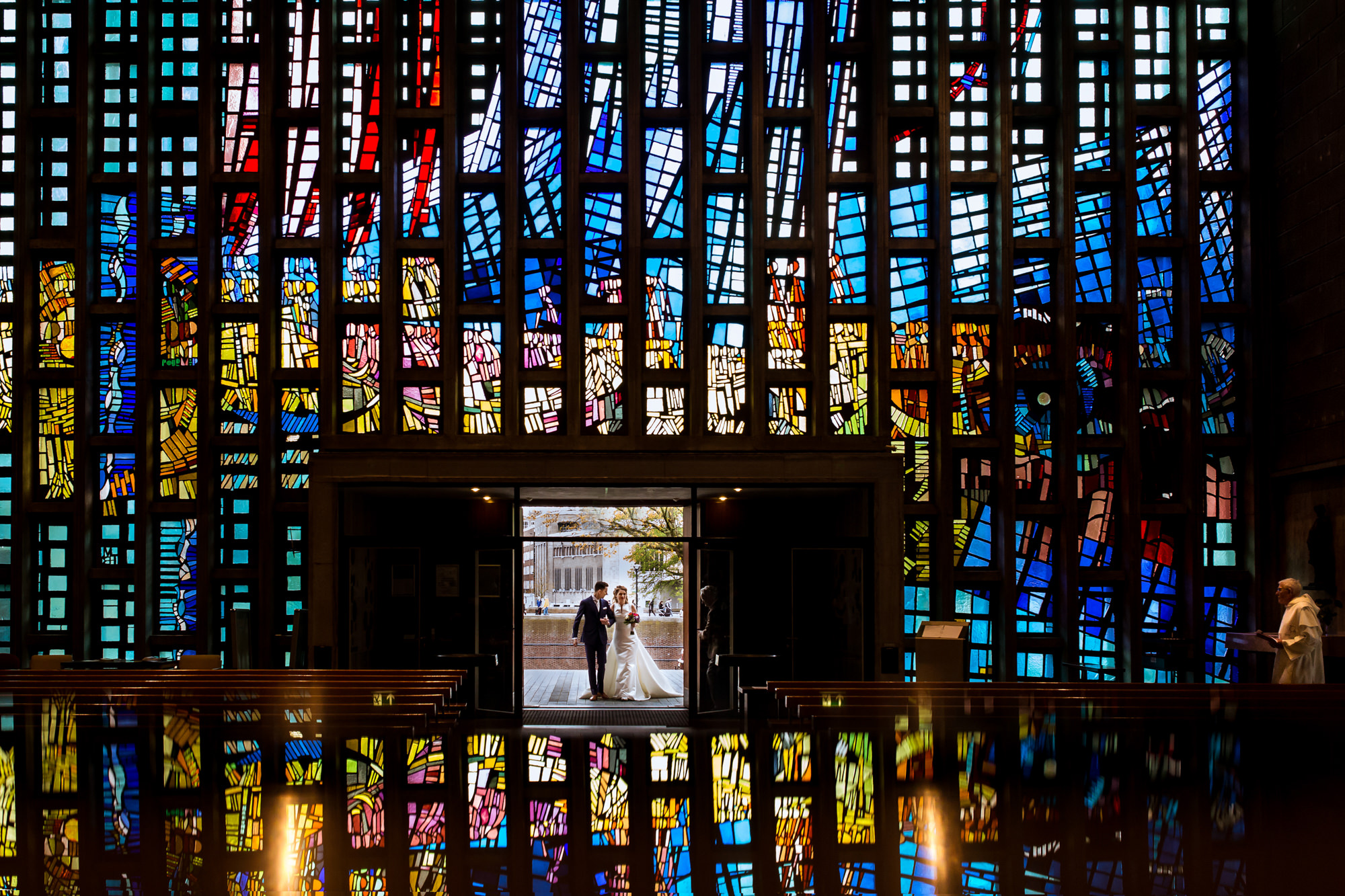 Creative reflection portrait entering church photo by Fotobelle: Isabelle Hattink