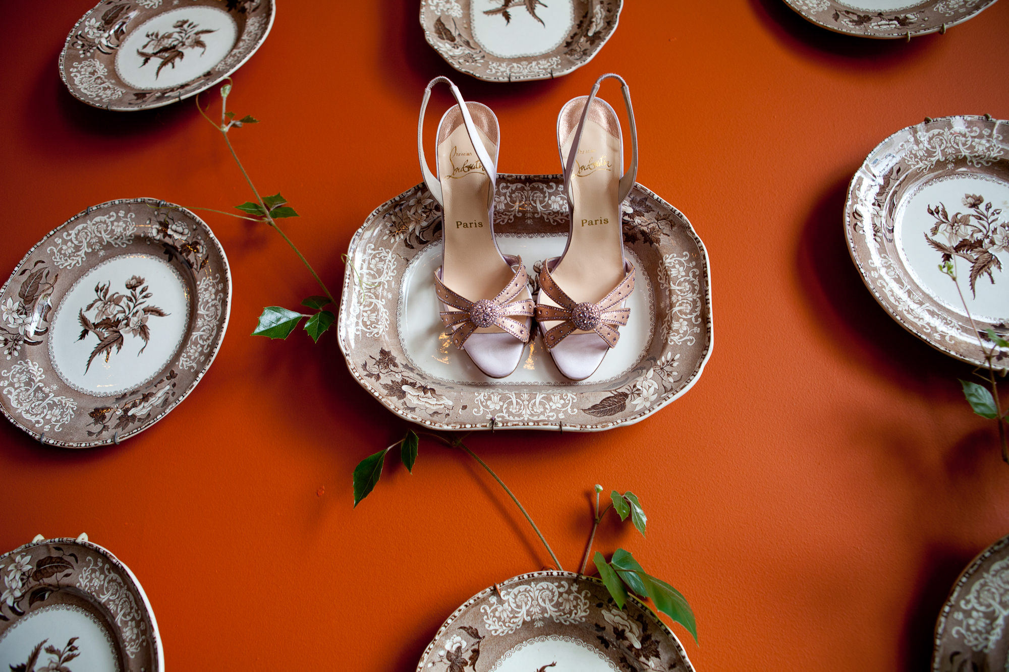Pink Sparkle Sandas on vintage plates - La Vie Photography