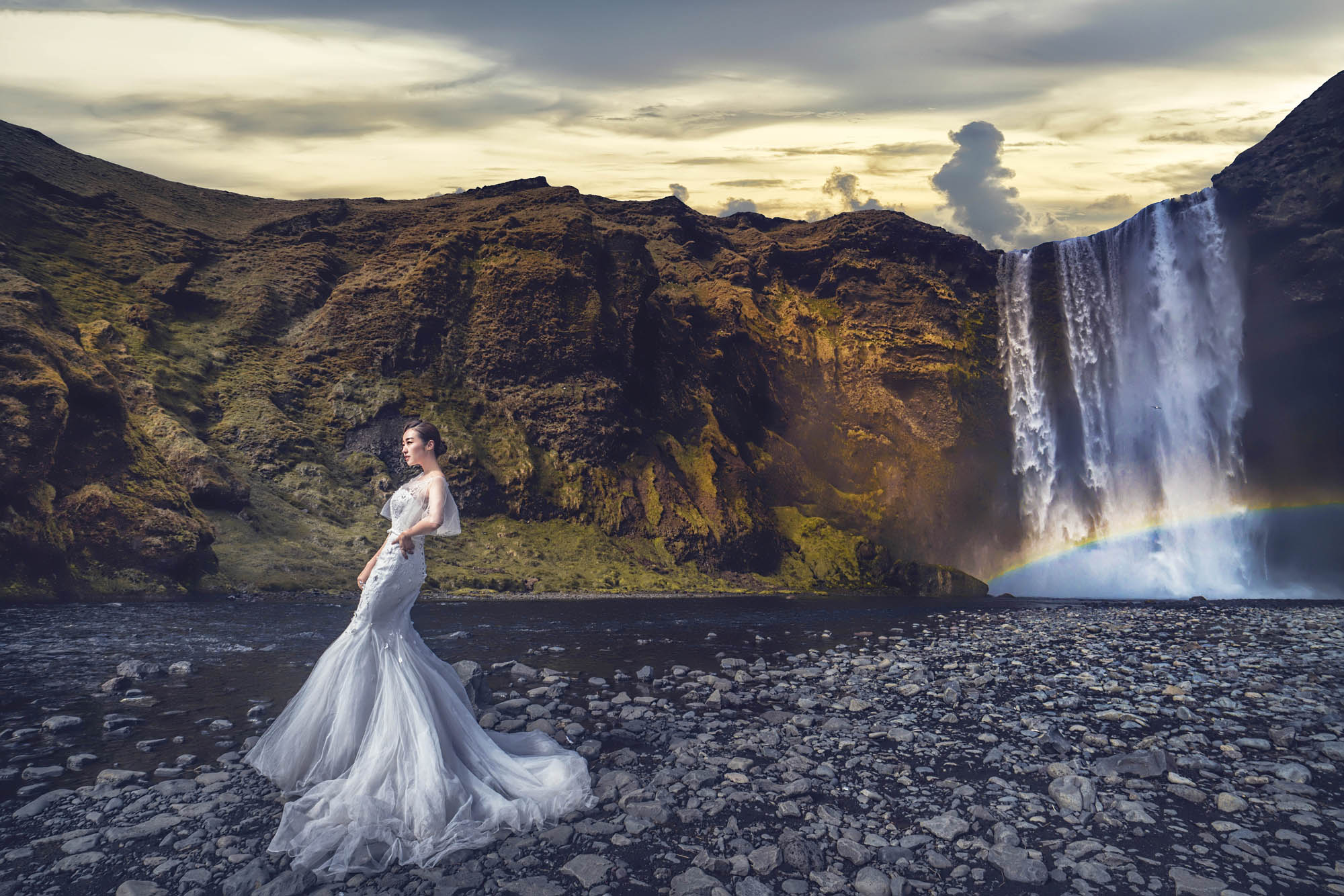 Bride in tulle trumpet gown by waterfalls, by CM Leung