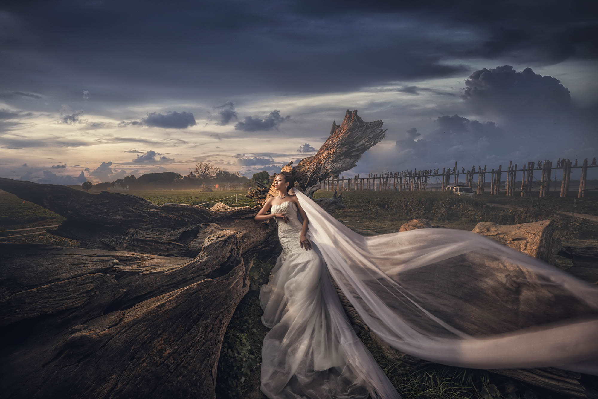 Bride in dramatic tulle and chiffon gown pose against countryside scene, by CM Leung