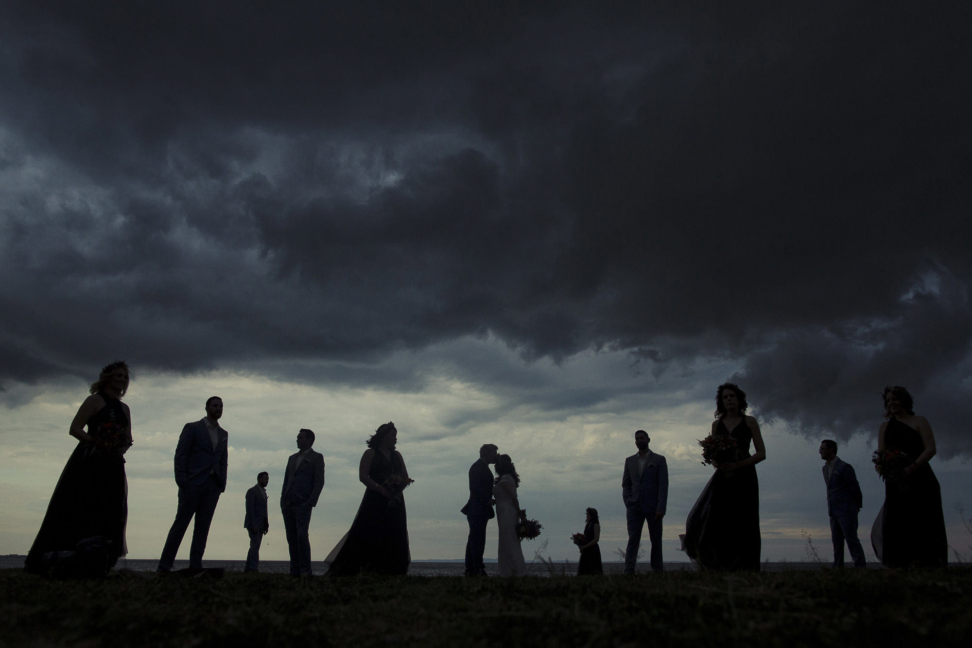 Silhouette of wedding party in field, by Dan O' Day