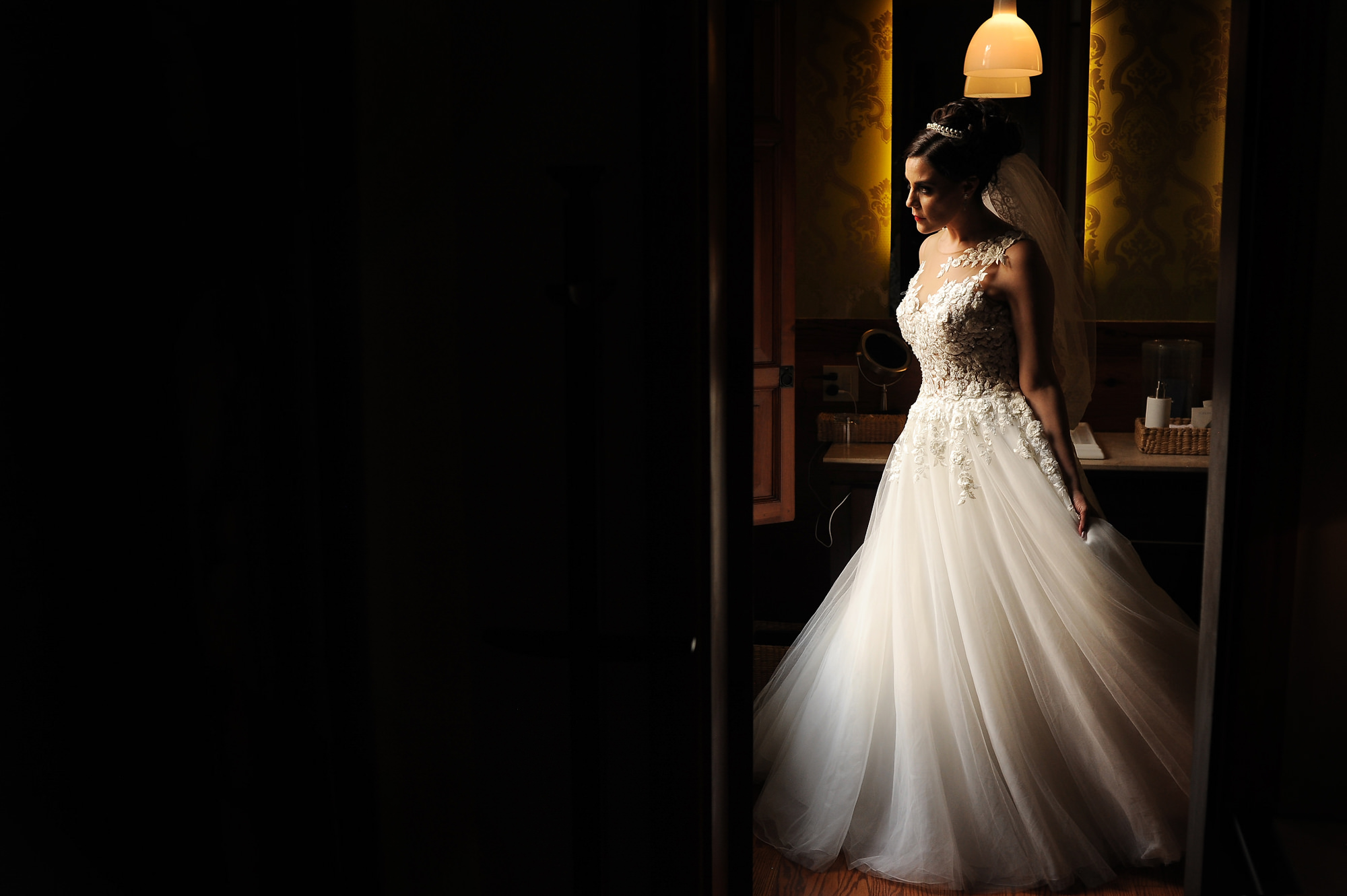 Bride with lace bodice and A-line chiffon skirt  - Daniel Aguilar Photographer