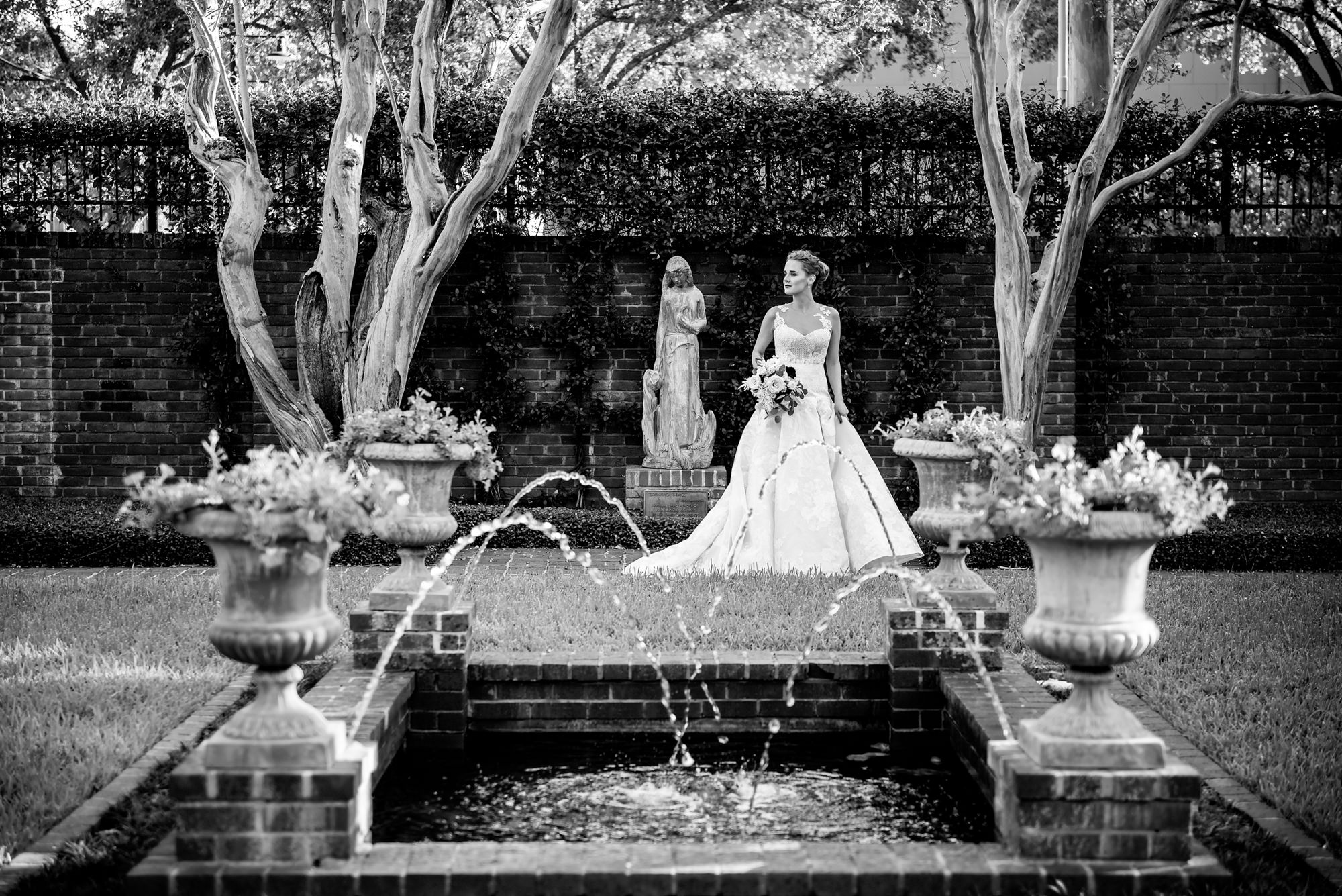 Bride pose in a beautiful garden, by Morgan Lynn Razi