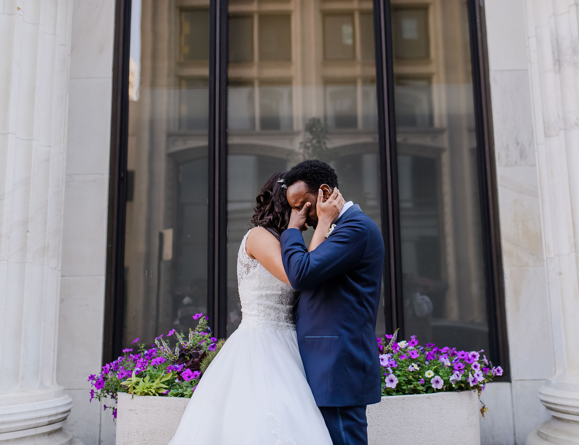 First look - groom holding back tears while hugging bride - photo by The Brenizers - NYC