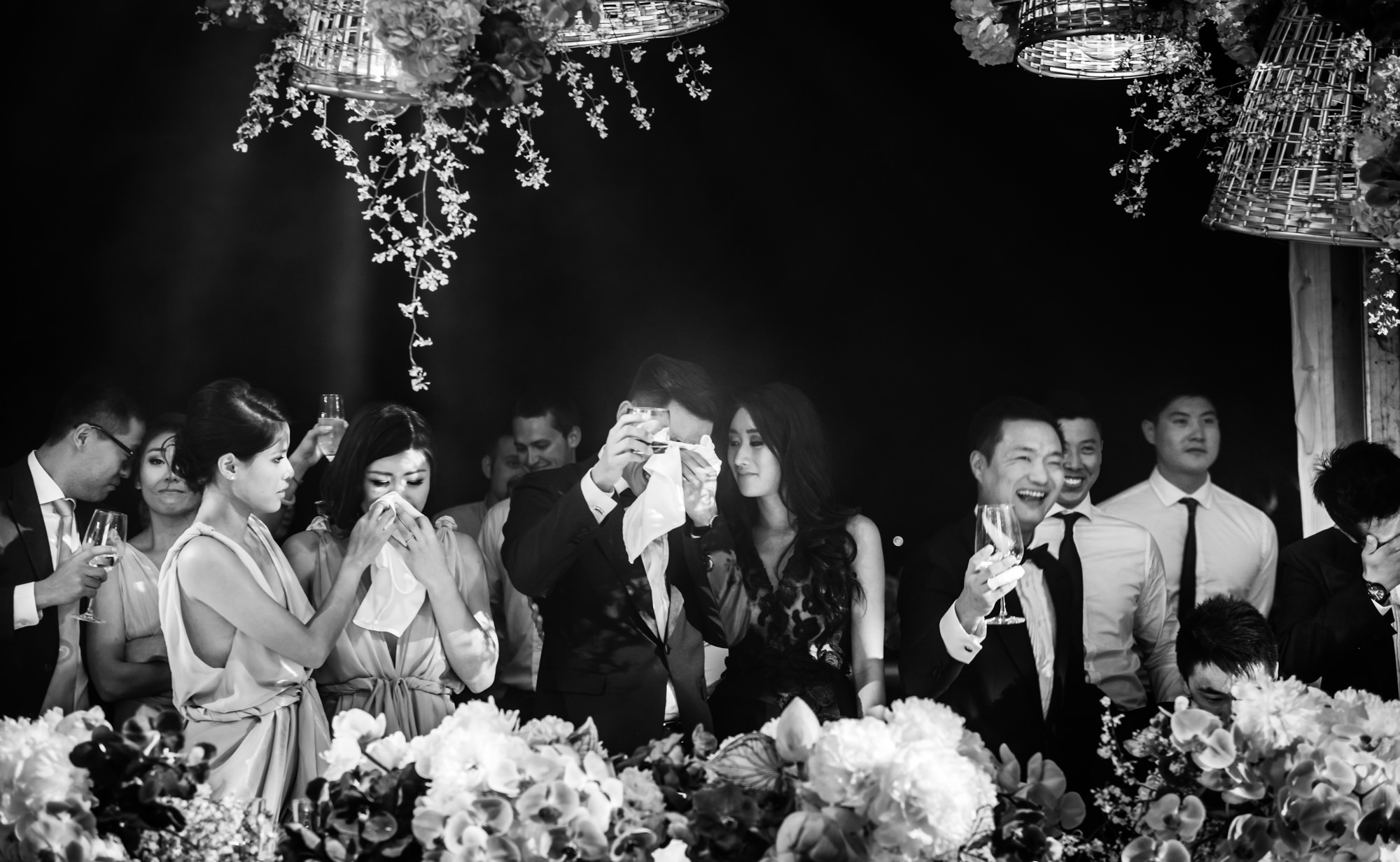 Emotional toast - groom crying and guests celebrating -  Studio Impressions Photography