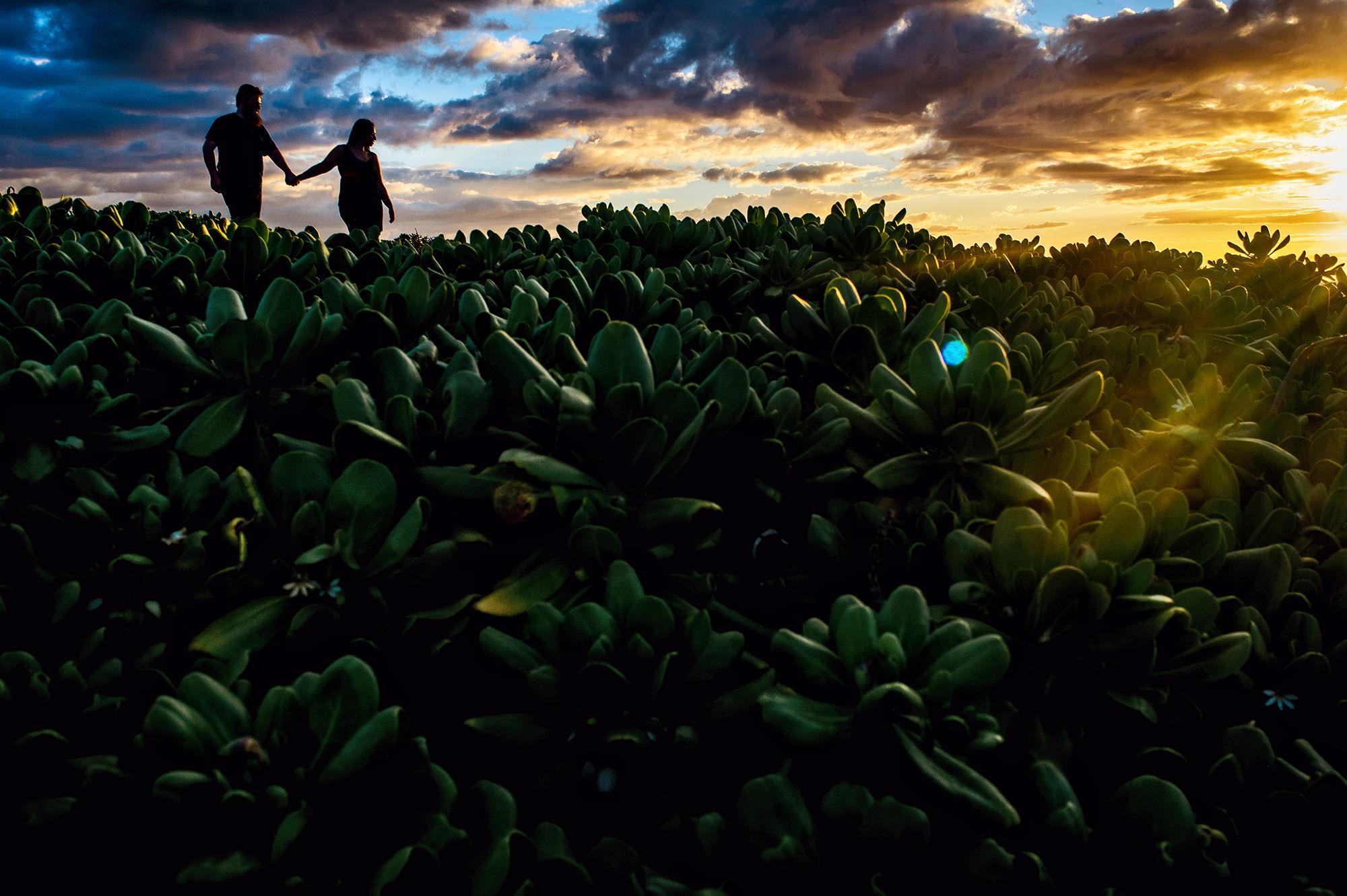 Engagement couple walking through field - photo by Davina + Daniel