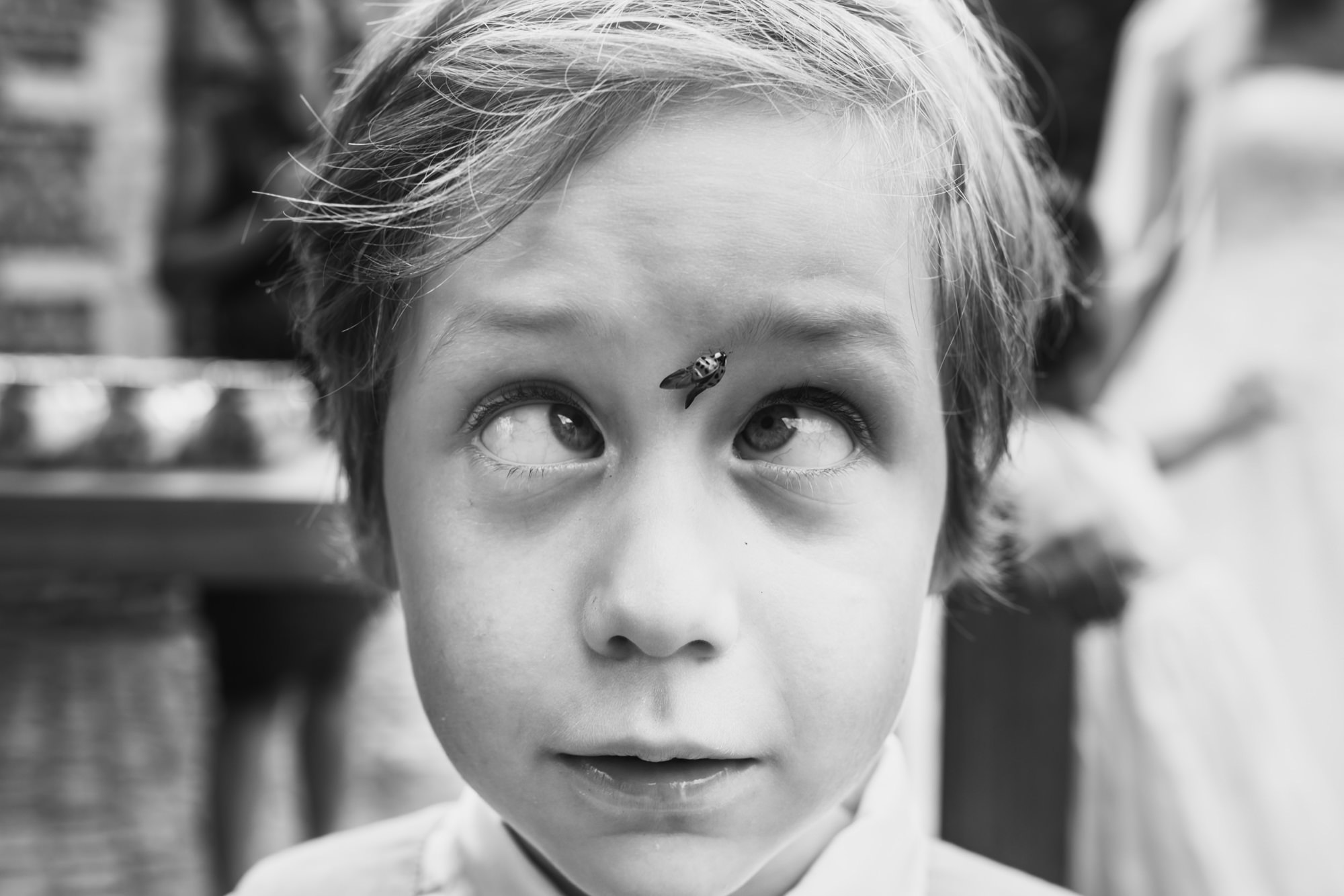Fun photo of boy with fly between his eyes - photo by Phillipe Swiggers