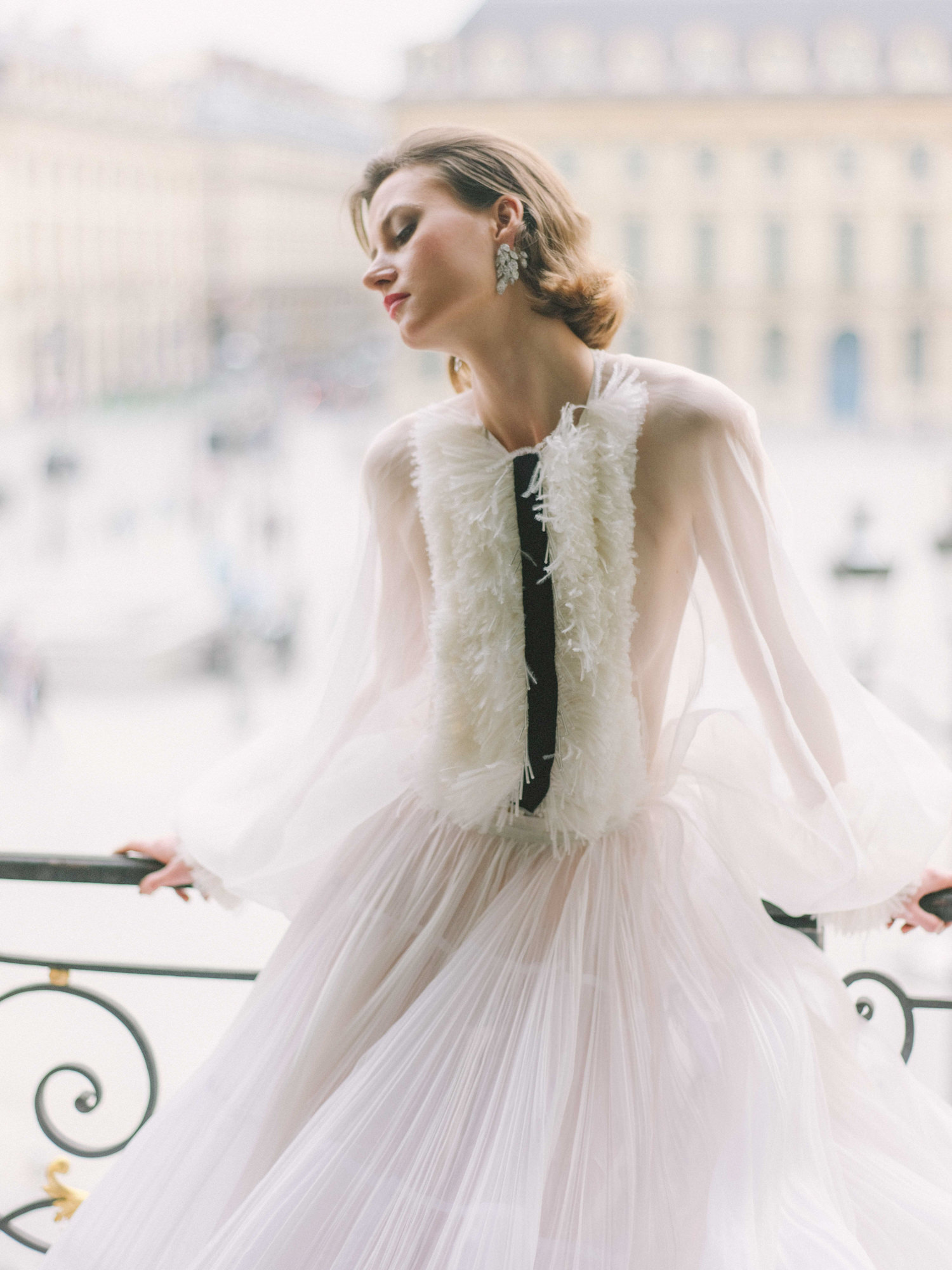 Sheer dress with feathered and ribbon bodice - Greg Finck Photography