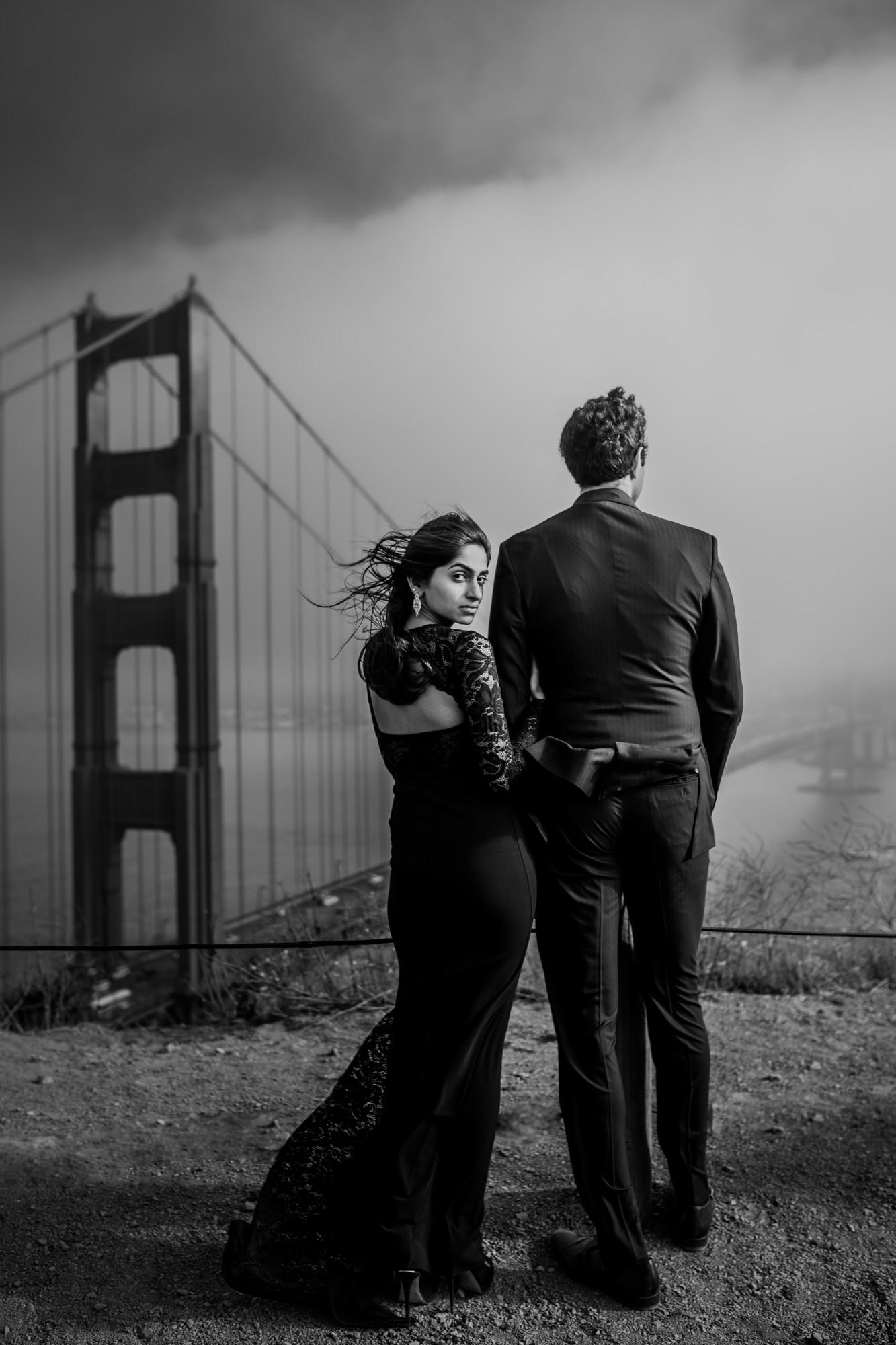 Film noir bride with groom at Golden Gate image by Rimi Sen