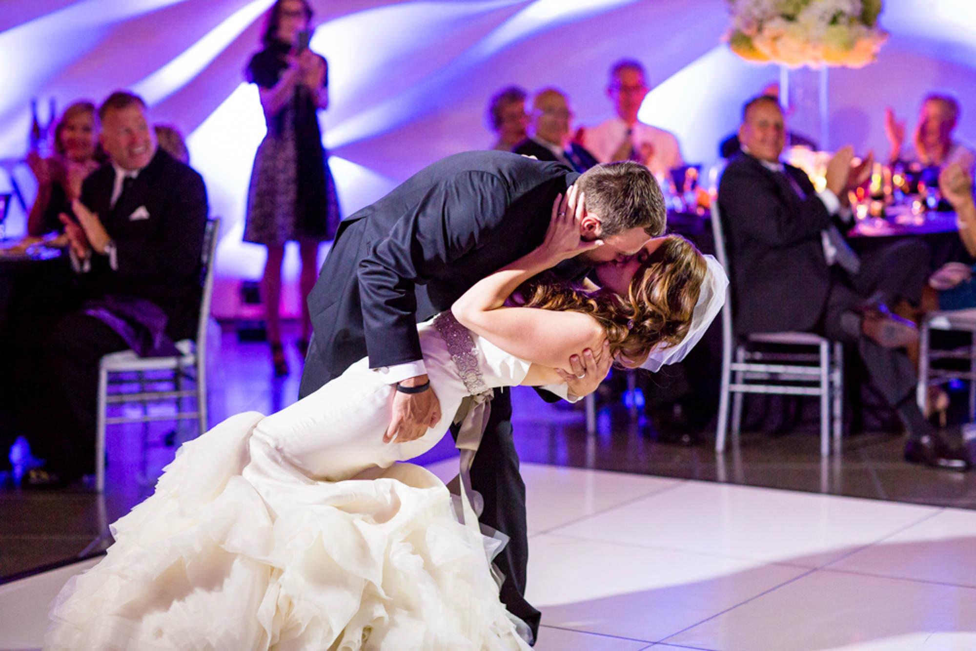 Groom dips bride to the floor for first dance  -  La Vie Photography - San Juan Islands