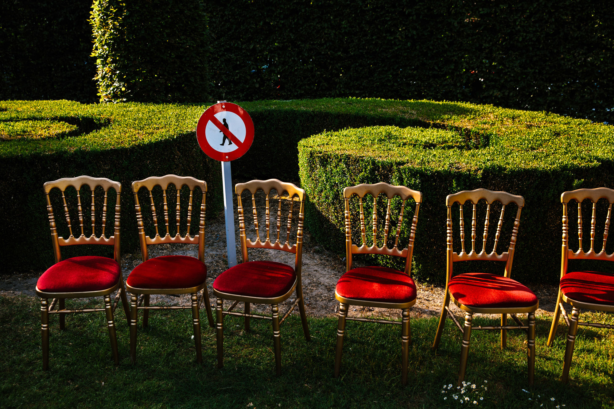 Gold ornate chiavari chairs with red covers Yves Schepers Belgium wedding photographers
