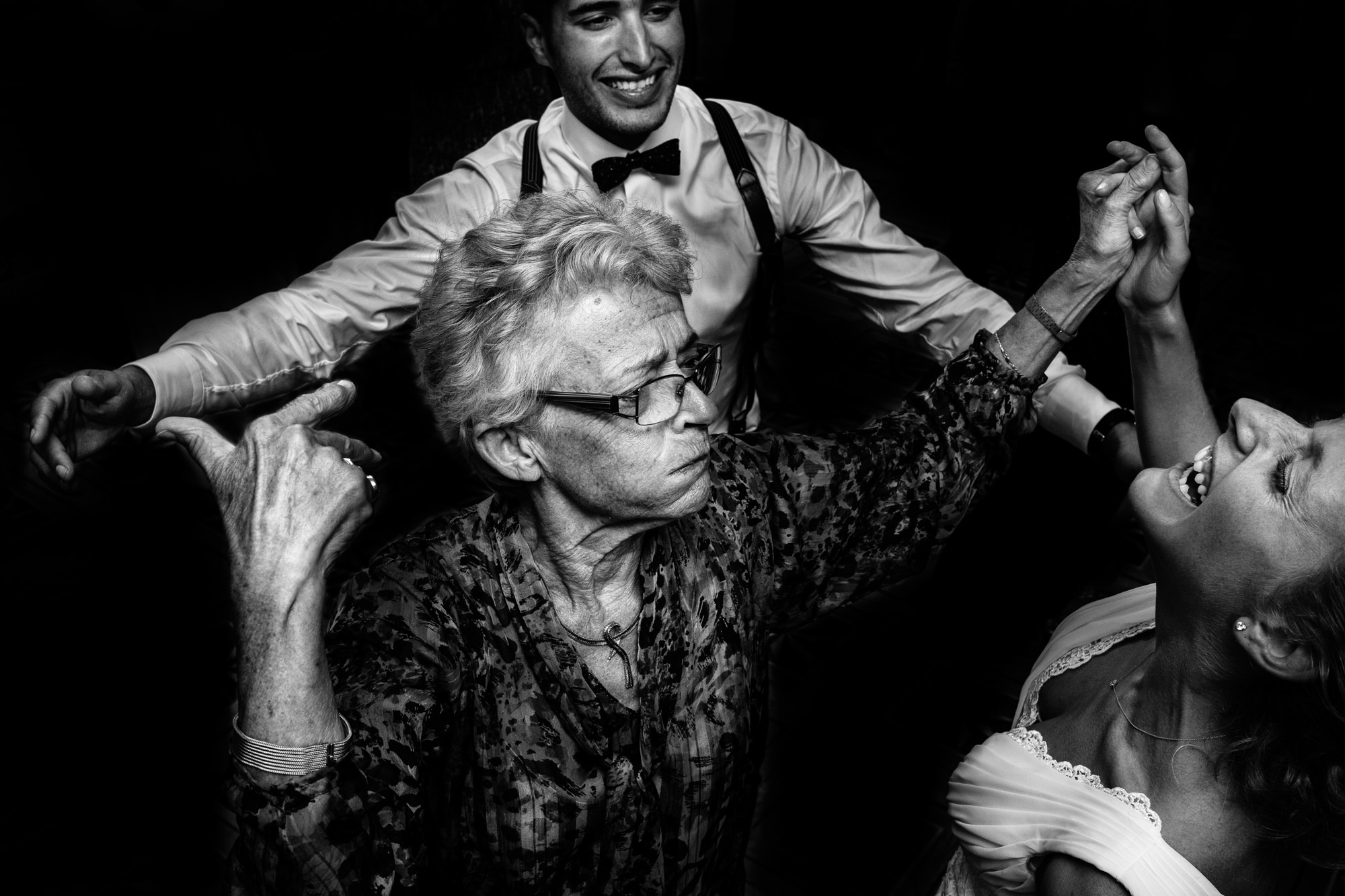 Grandma busts a move with bride and groom Yves Schepers Belgium wedding photographers