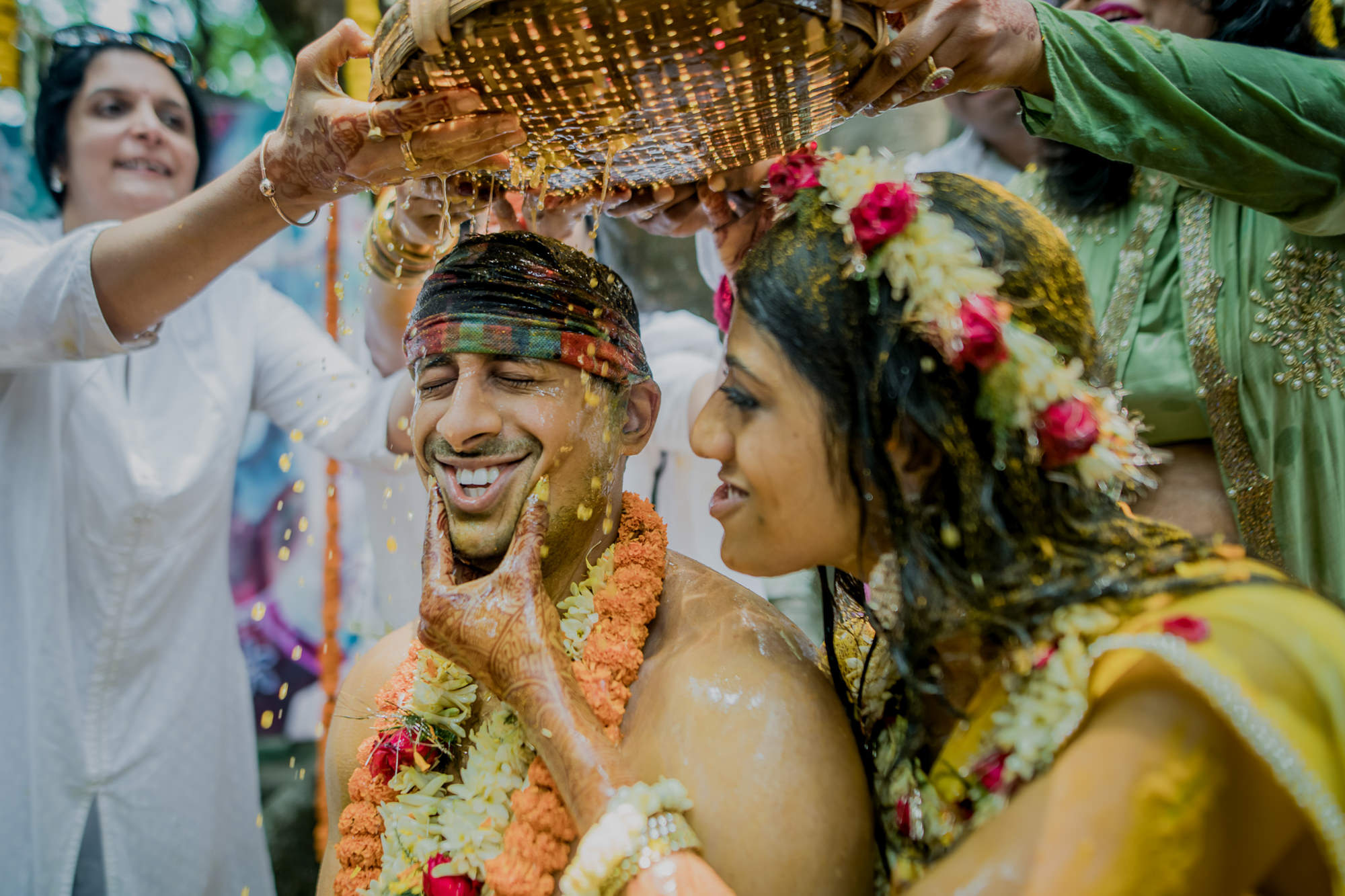 Fun moment between bride and groom - photo by RImi Sen