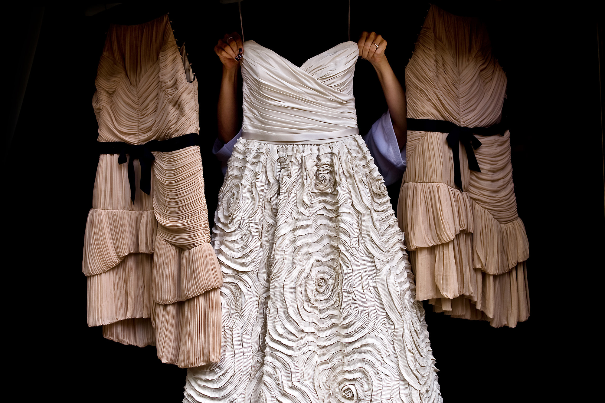 Ribbon ruched chiffon gown with taupe bridesmaid dresses  - Davina + Daniel